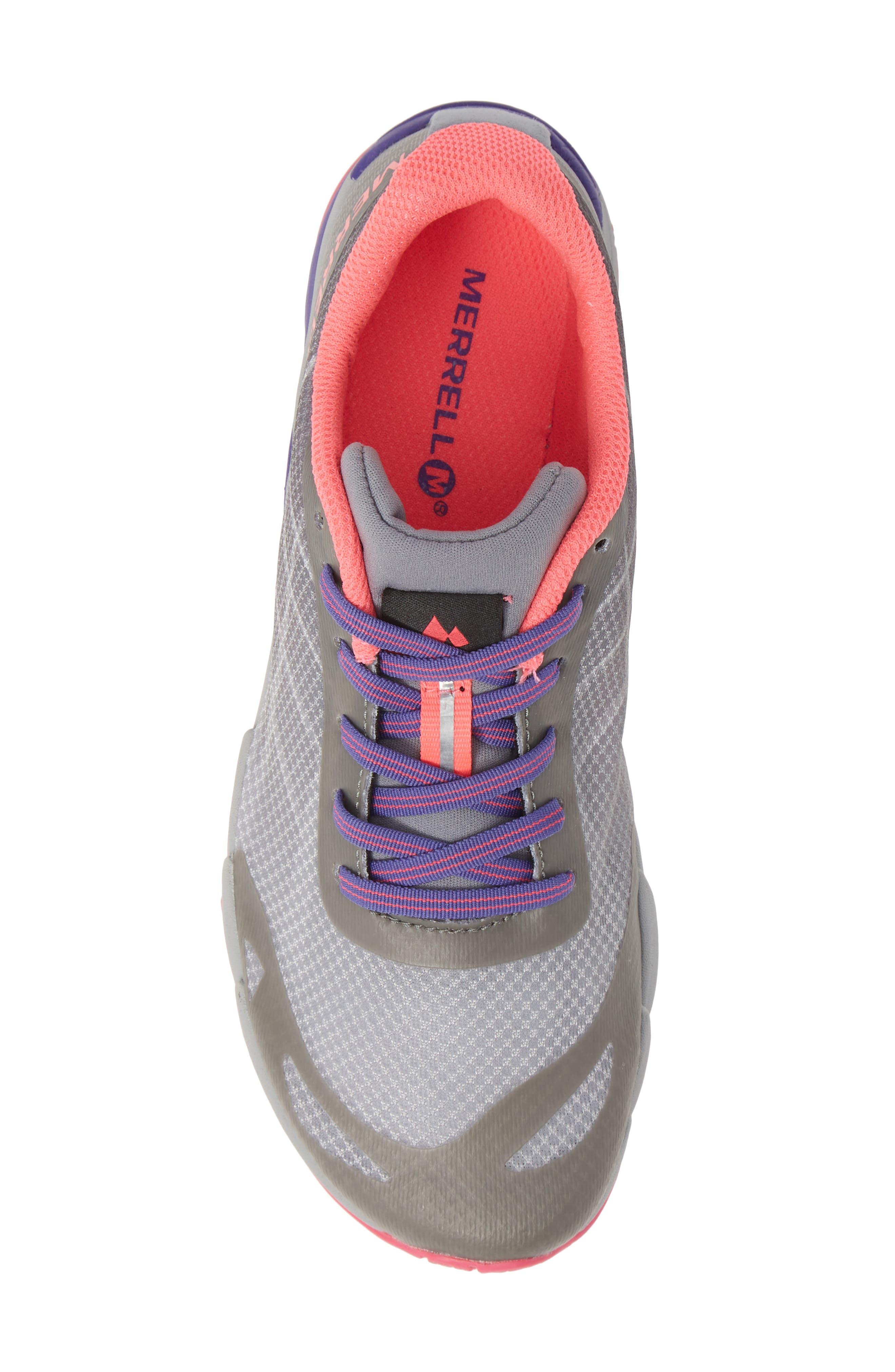 MERRELL, Bare Access Sneaker, Alternate thumbnail 5, color, GREY/ MULTI SYNTHETIC