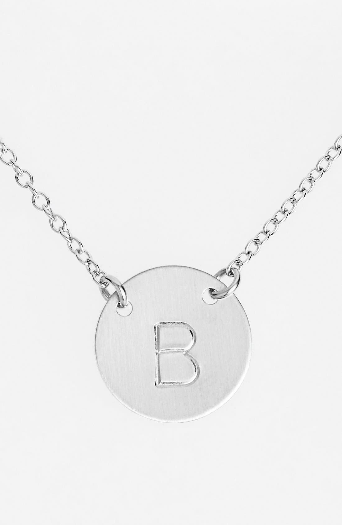 NASHELLE, Sterling Silver Initial Disc Necklace, Main thumbnail 1, color, STERLING SILVER B