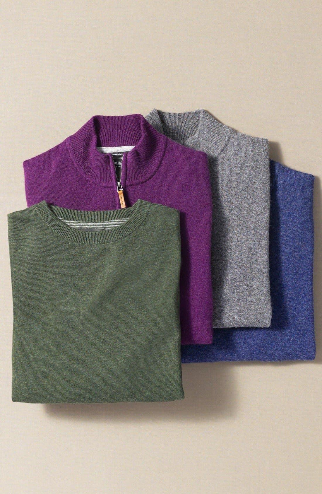 NORDSTROM MEN'S SHOP, Regular Fit Cashmere Quarter Zip Pullover, Alternate thumbnail 7, color, GREY DRIFTWOOD