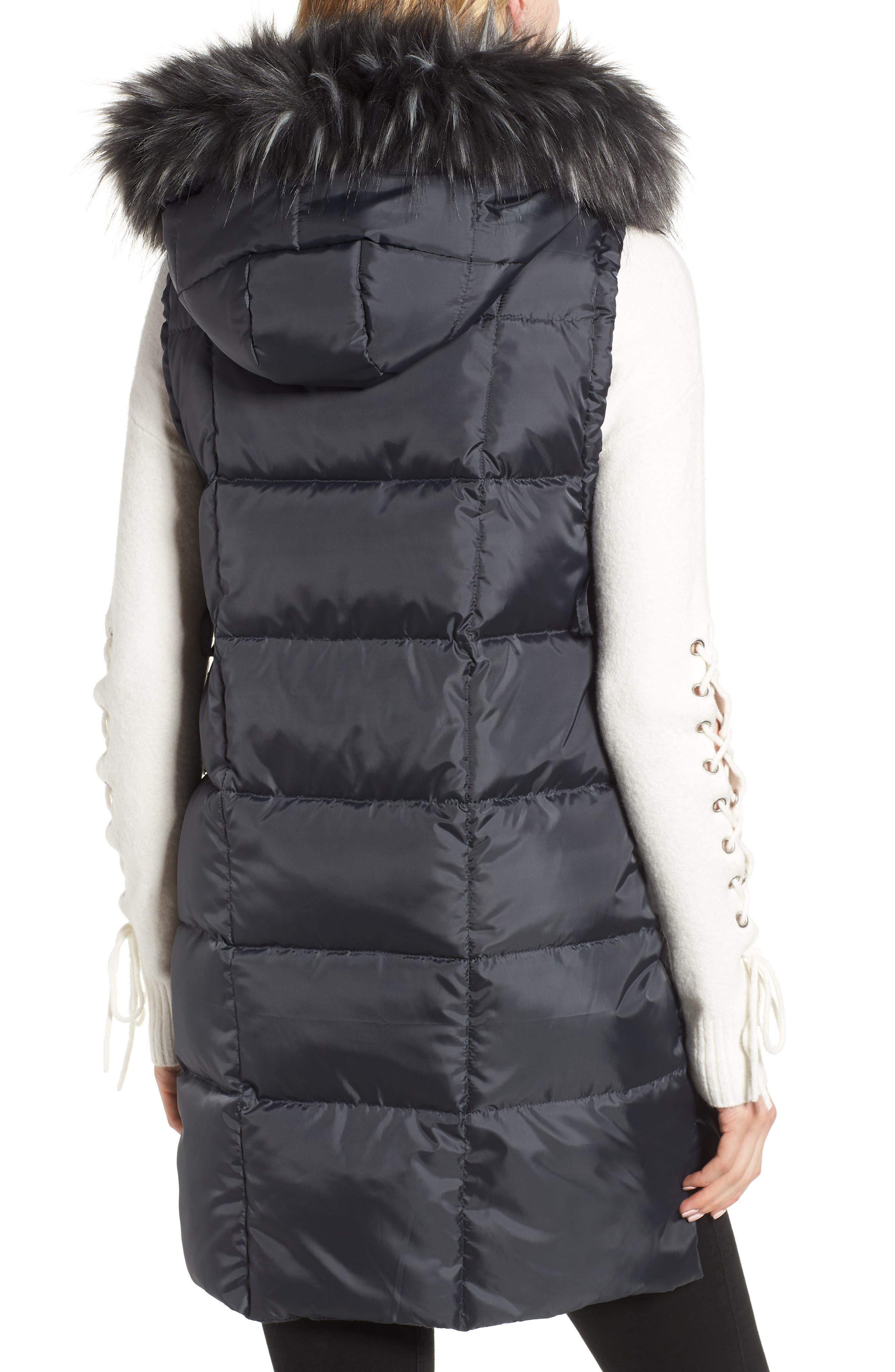 SAM EDELMAN, Faux Fur Trim Hooded Side-Tie Vest, Alternate thumbnail 2, color, 036