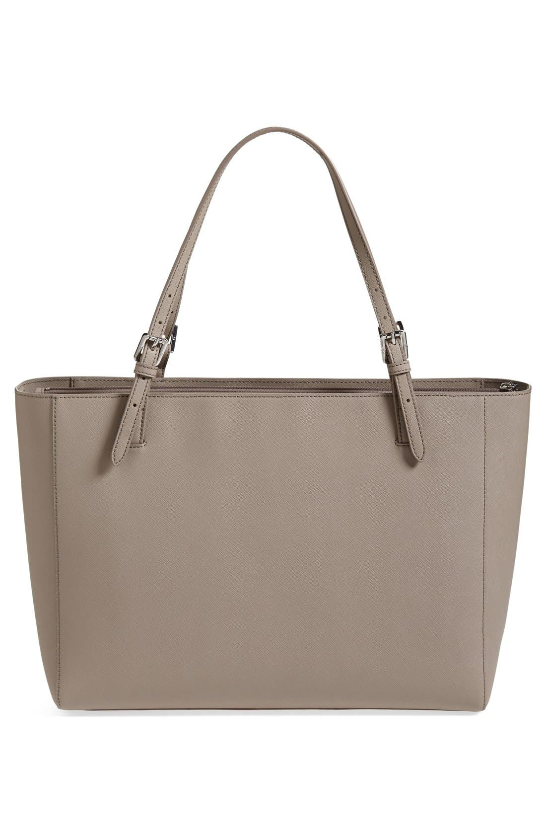 TORY BURCH, 'York' Buckle Tote, Alternate thumbnail 3, color, 020