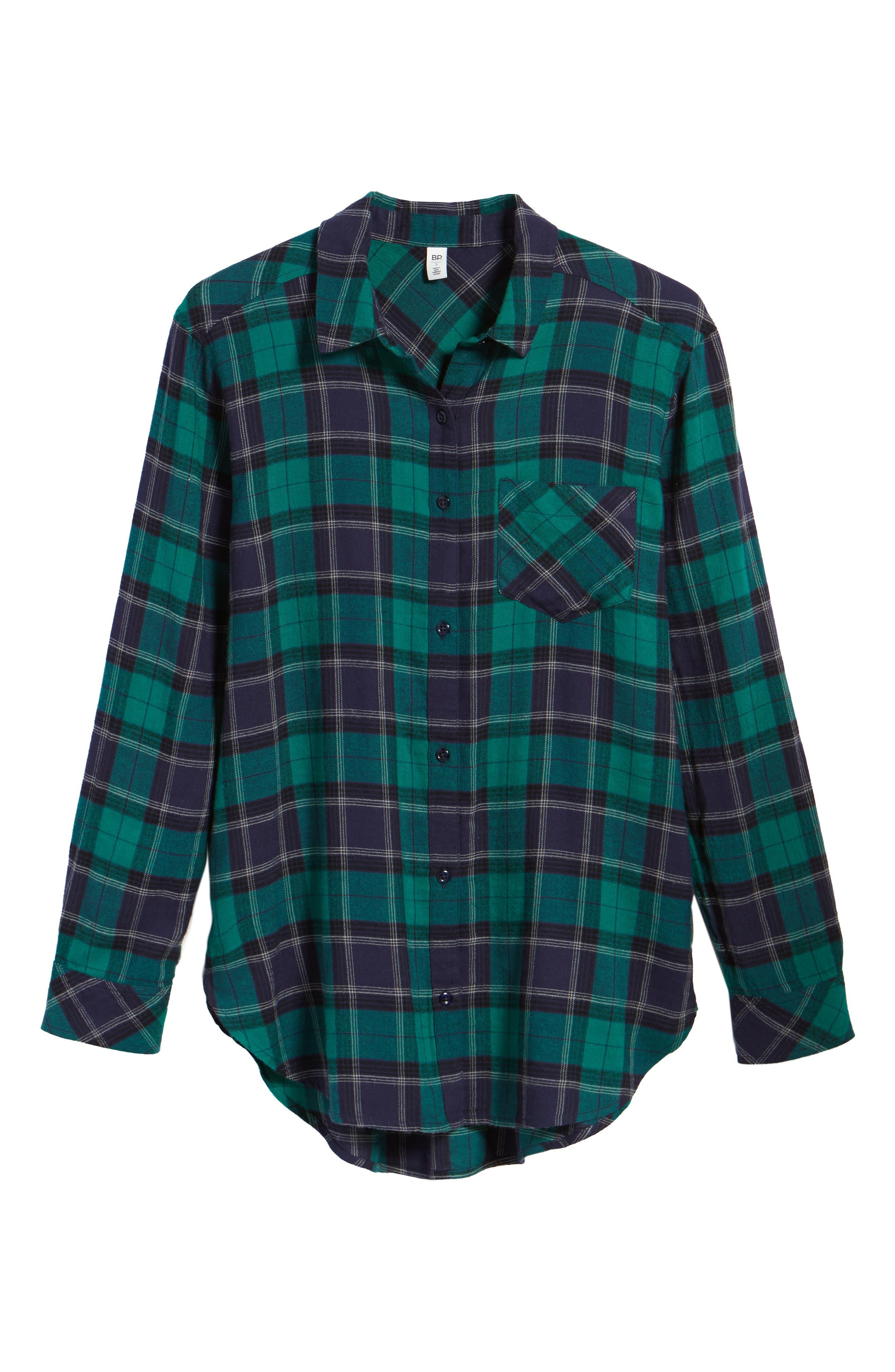 BP., Plaid Cotton Blend Shirt, Alternate thumbnail 6, color, 301