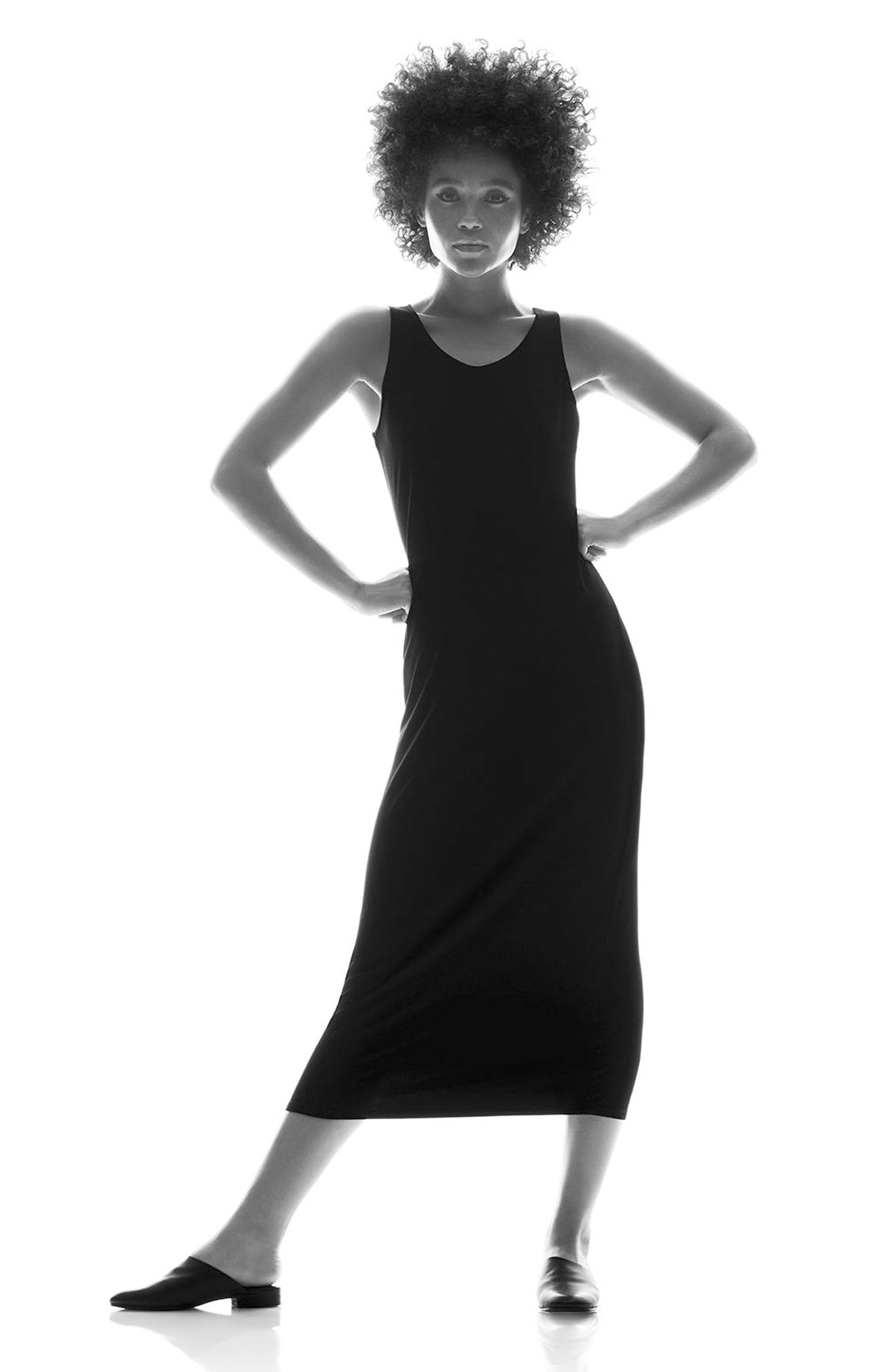EILEEN FISHER, Midi Tank Dress, Alternate thumbnail 10, color, BLACK