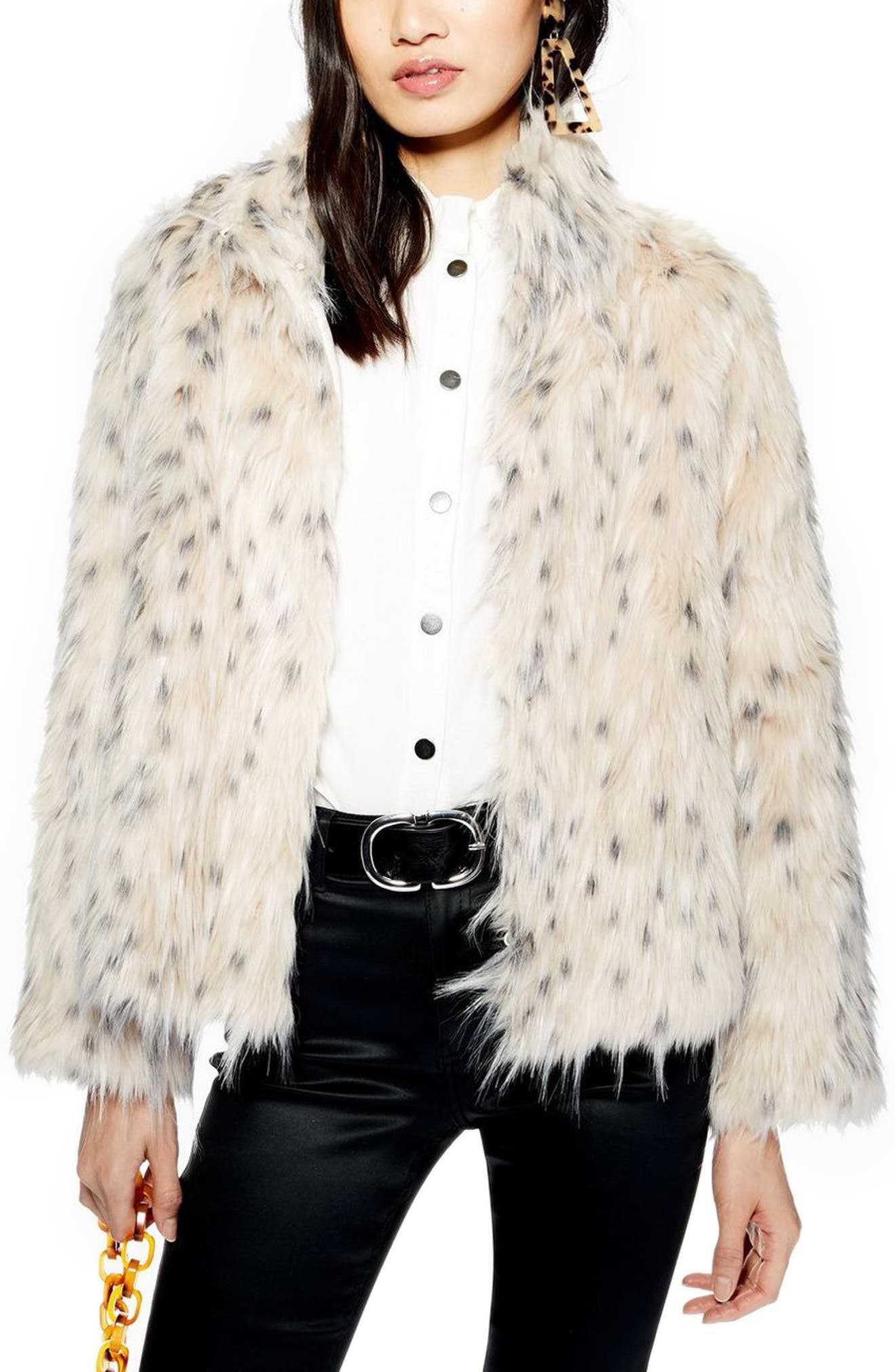 TOPSHOP, Patsy Snow Leopard Faux Fur Jacket, Alternate thumbnail 4, color, 001