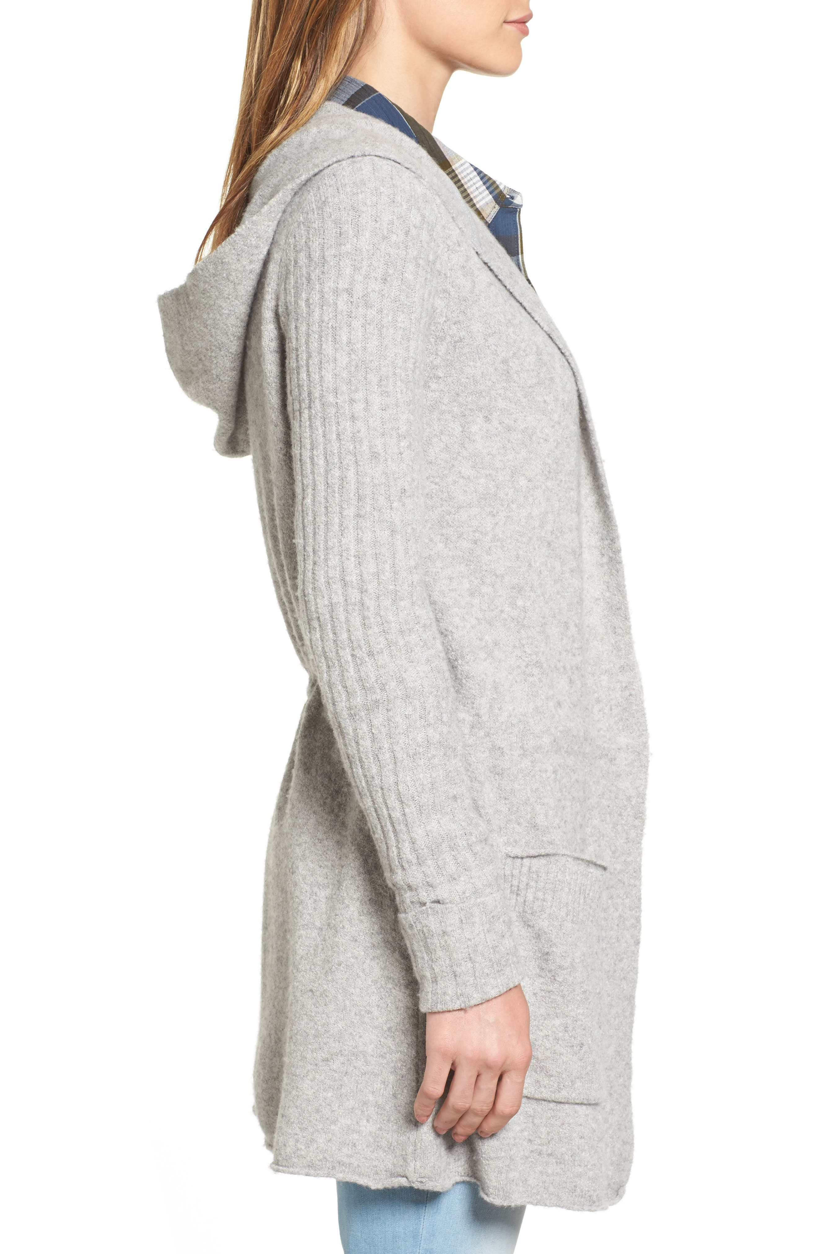 CASLON<SUP>®</SUP>, Hooded Cardigan, Alternate thumbnail 3, color, HEATHER GREY