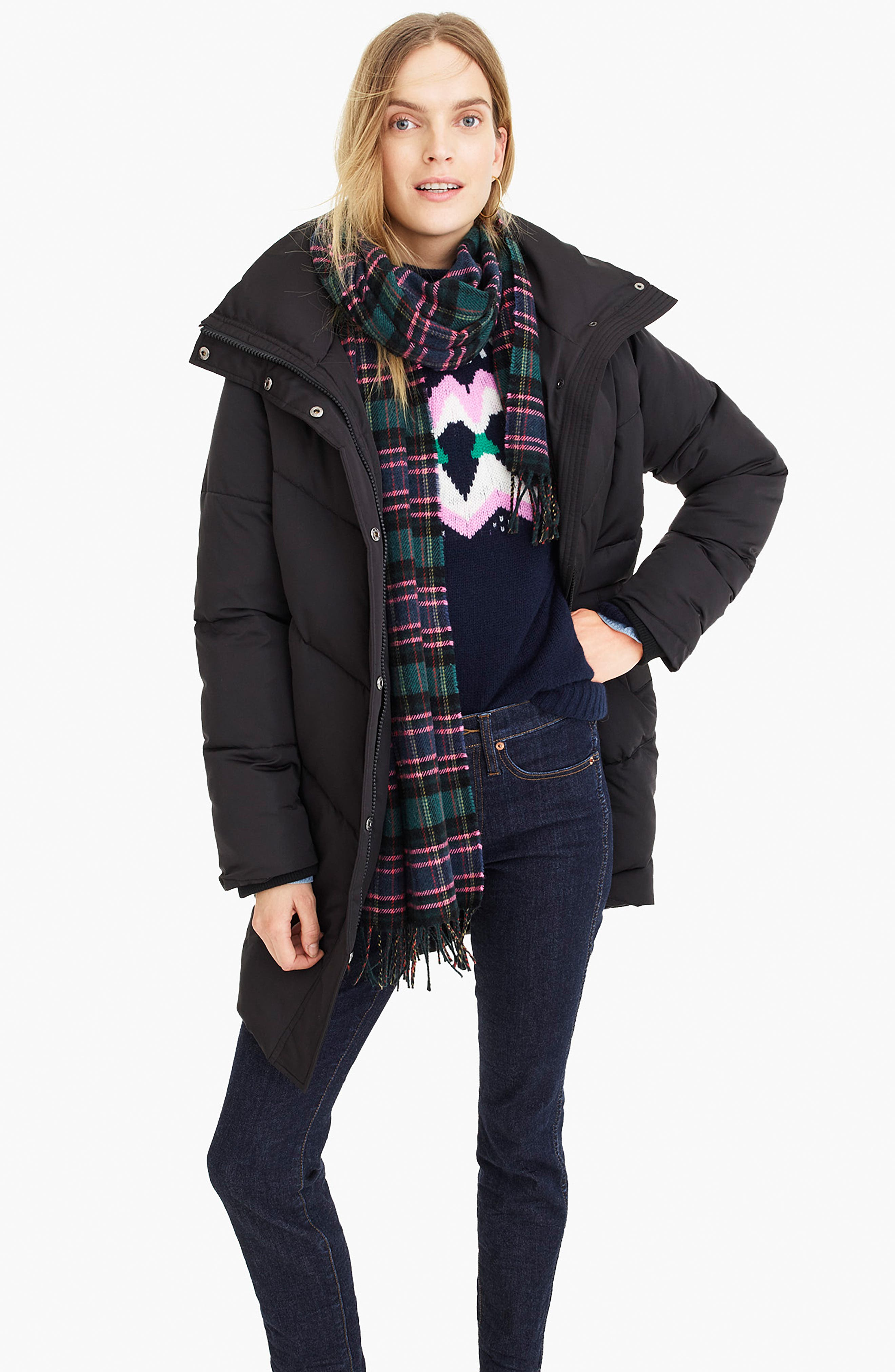 UNIVERSAL STANDARD, for J.Crew Chevron Long Puffer Coat, Alternate thumbnail 8, color, BLACK