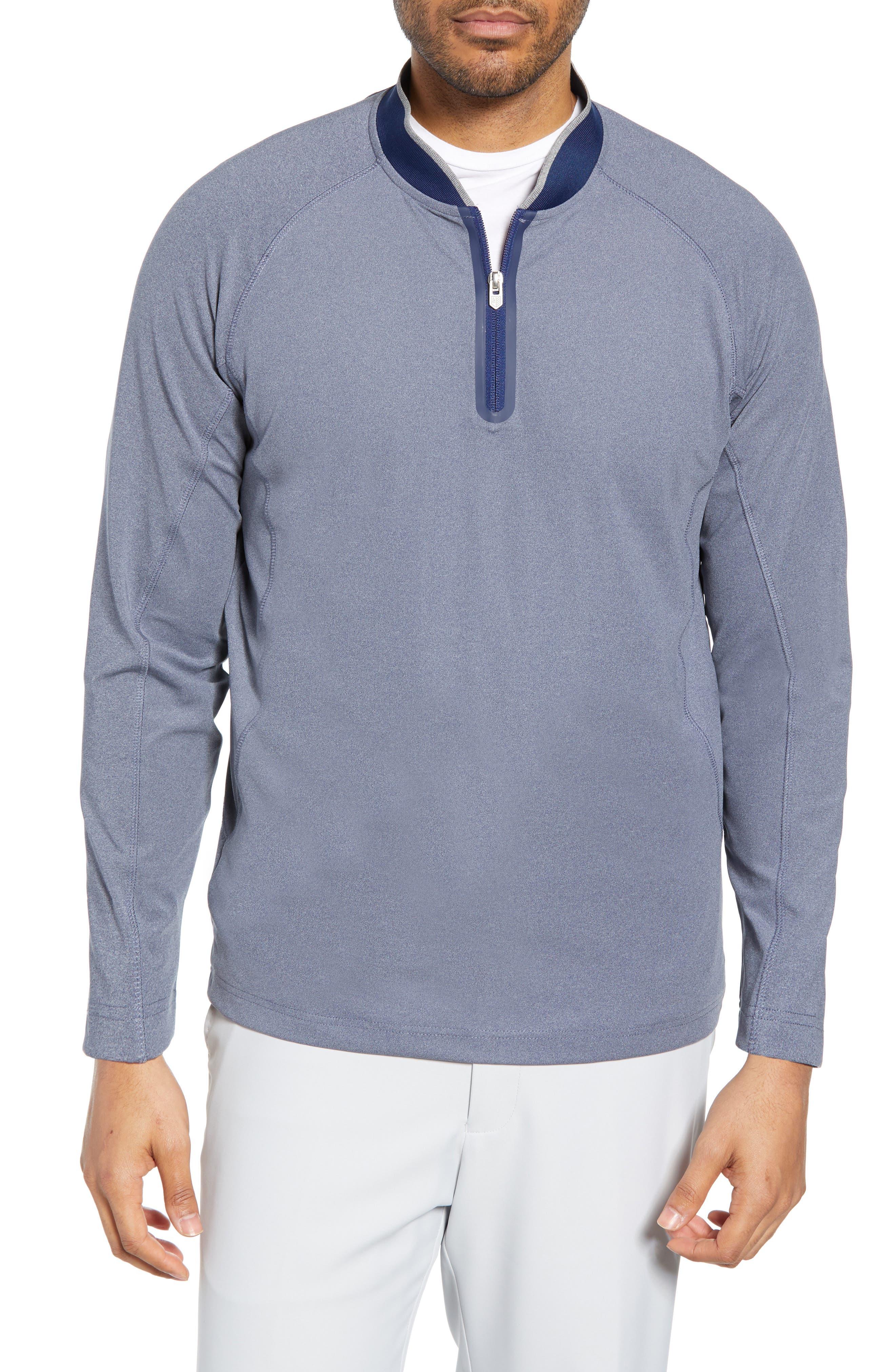 BOBBY JONES Rule 18 Quarter Zip Tech Pullover, Main, color, NAVY