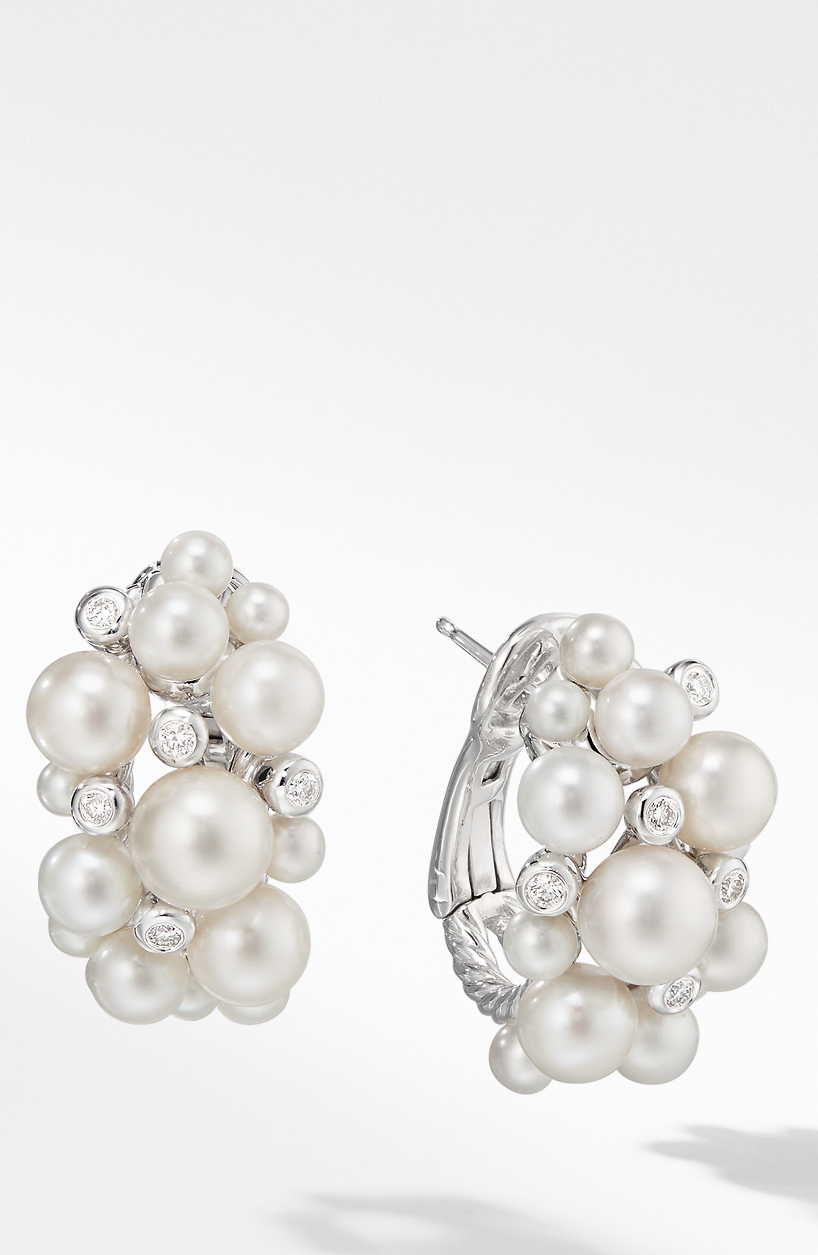 DAVID YURMAN Large Pearl Cluster Hoop Earrings with Diamonds, Main, color, PEARL