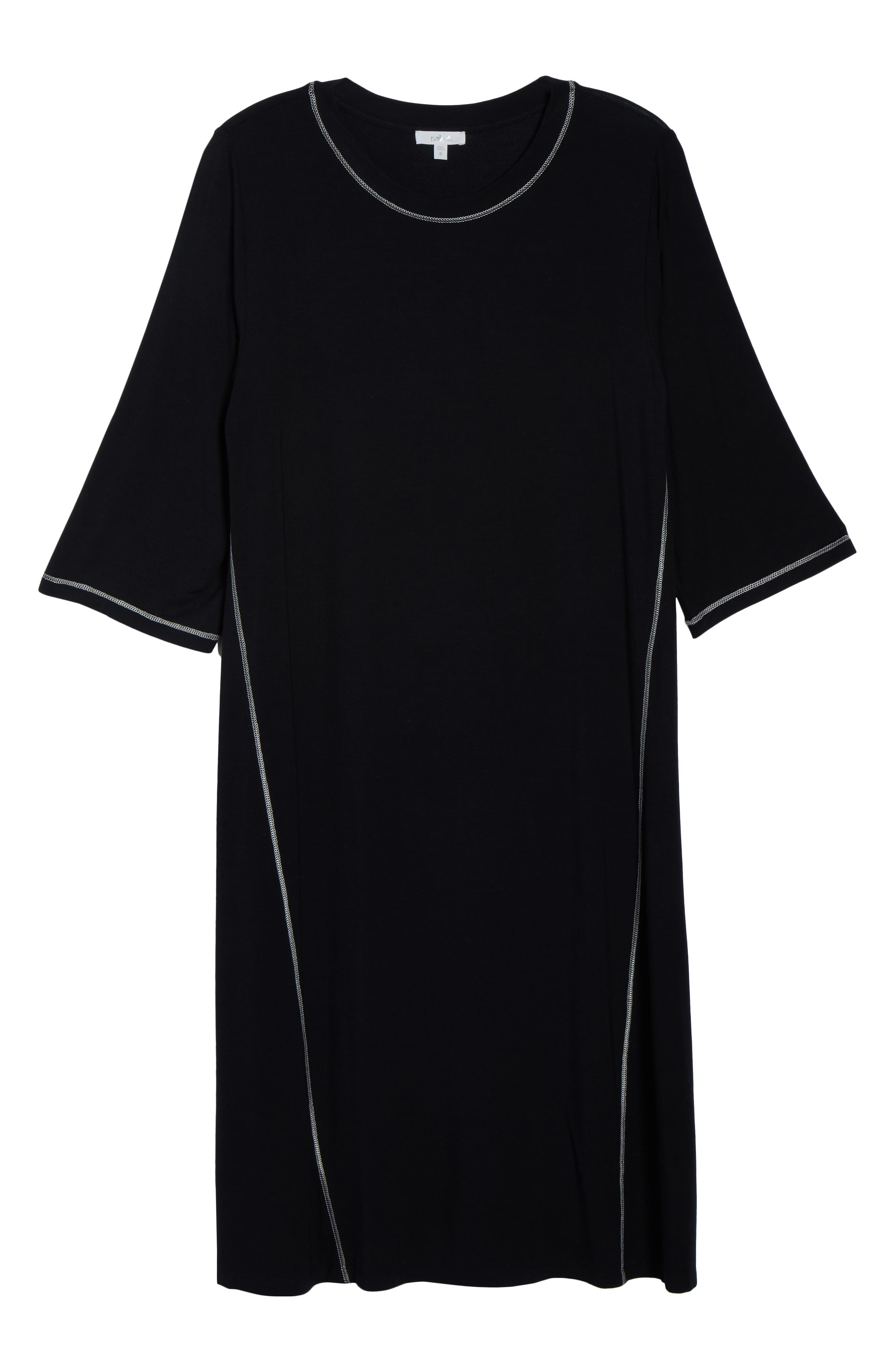 NAKED, Luxury Sleep Shirt, Alternate thumbnail 6, color, BLACK