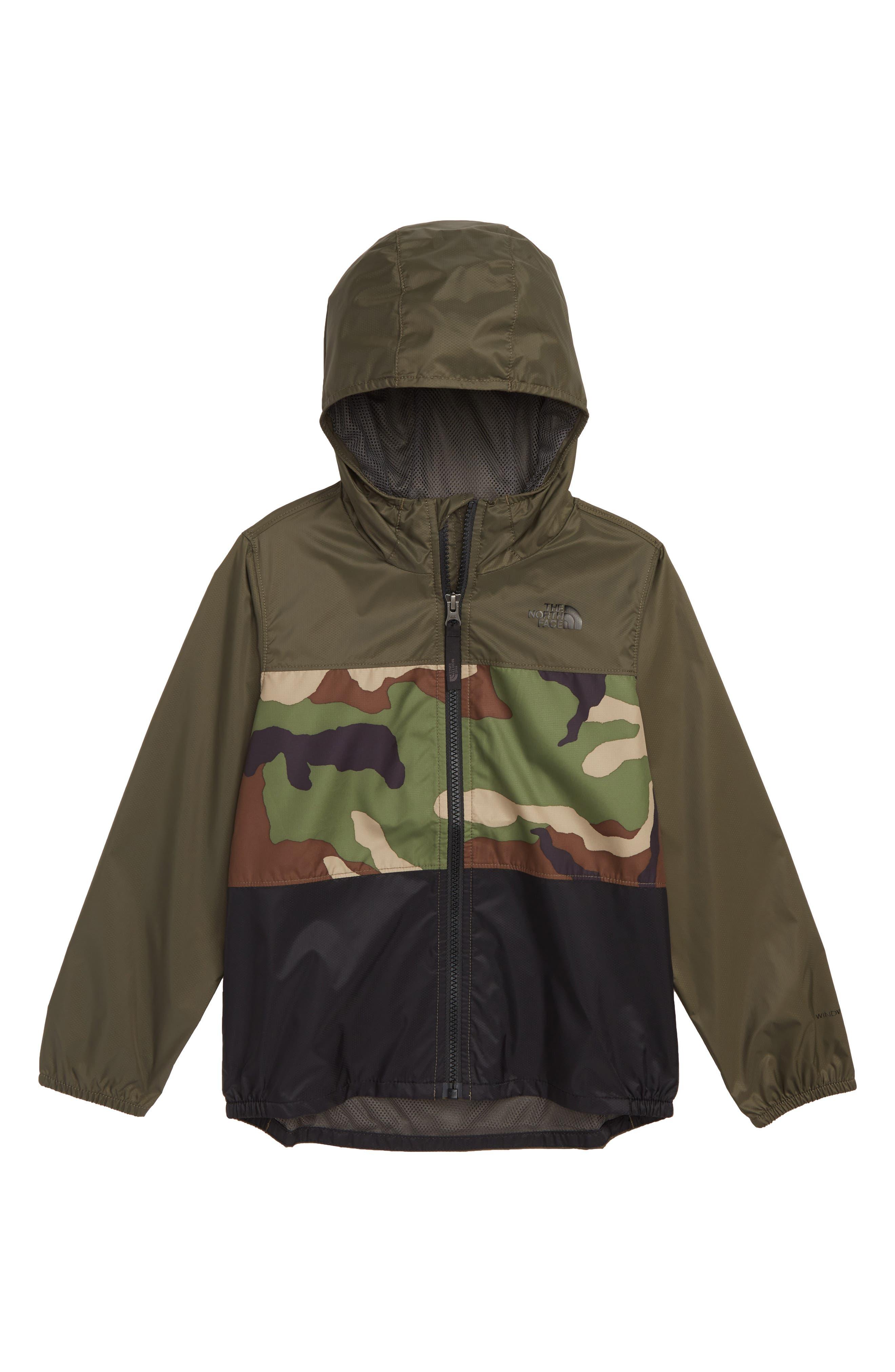 THE NORTH FACE Flurry Hooded Windbreaker Jacket, Main, color, TERRARIUM GREEN WOODLAND CAMO