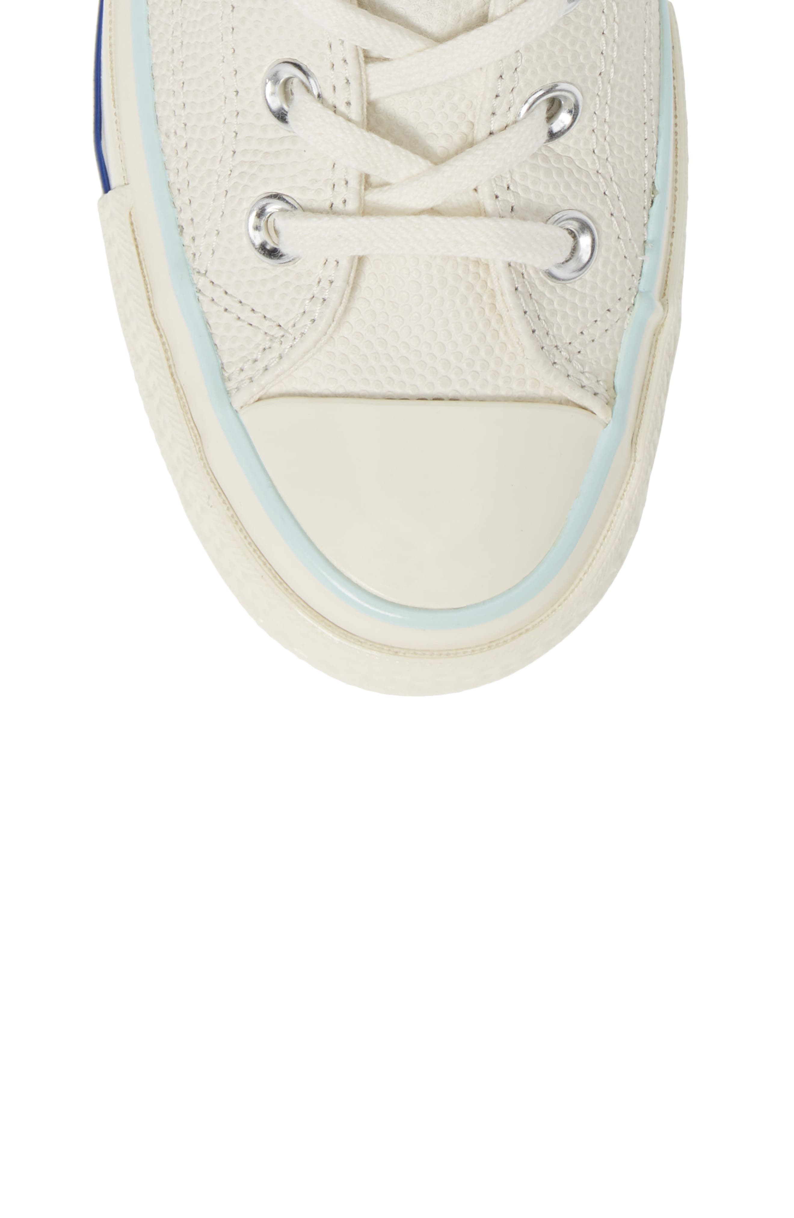 CONVERSE, Chuck Taylor<sup>®</sup> All Star<sup>®</sup> 70 High Top Leather Sneaker, Alternate thumbnail 5, color, EGRET/ TEAL TINT/ EGRET