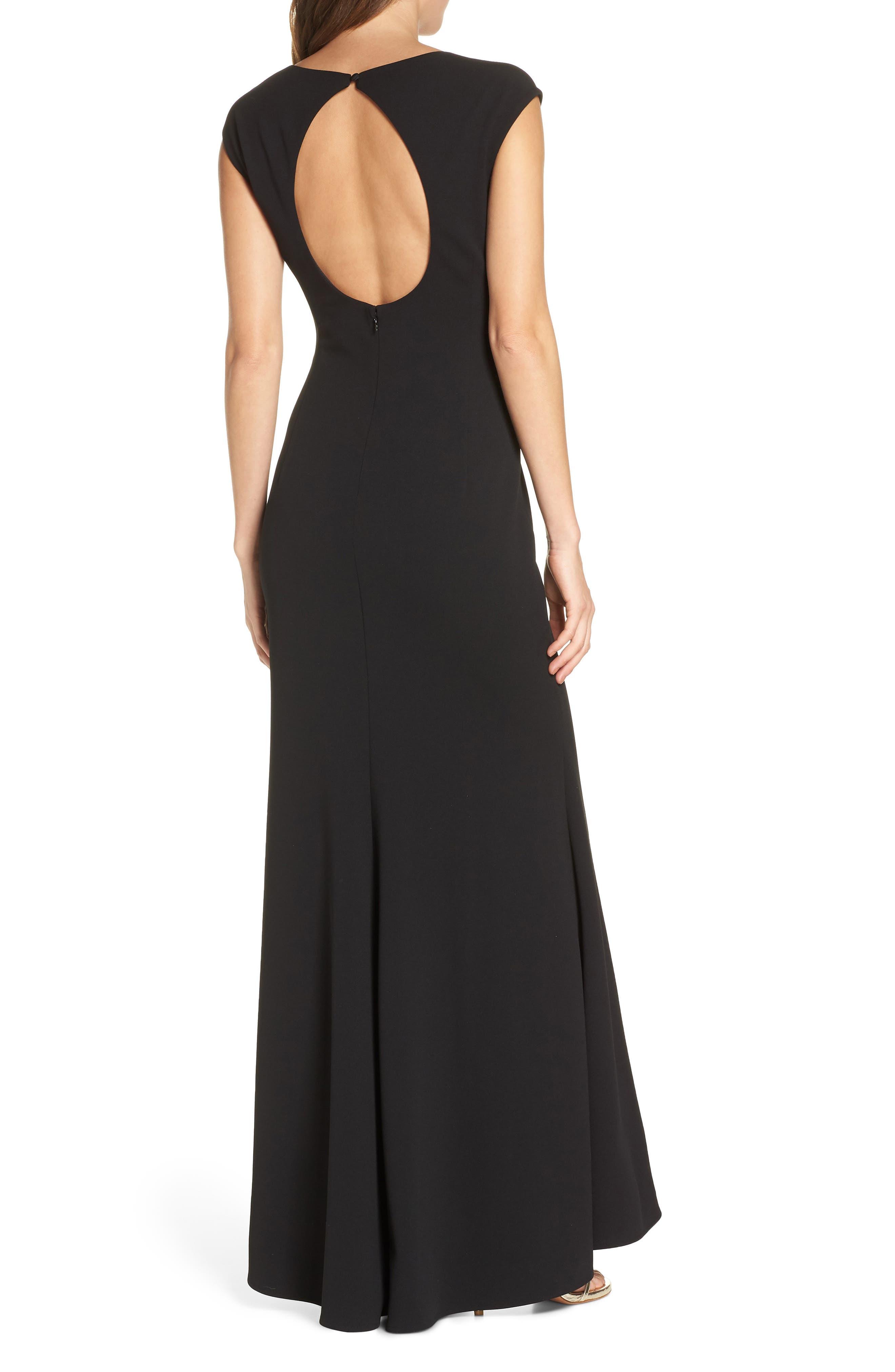 ELIZA J, Square Neck Scuba Crepe Evening Dress, Alternate thumbnail 4, color, BLACK