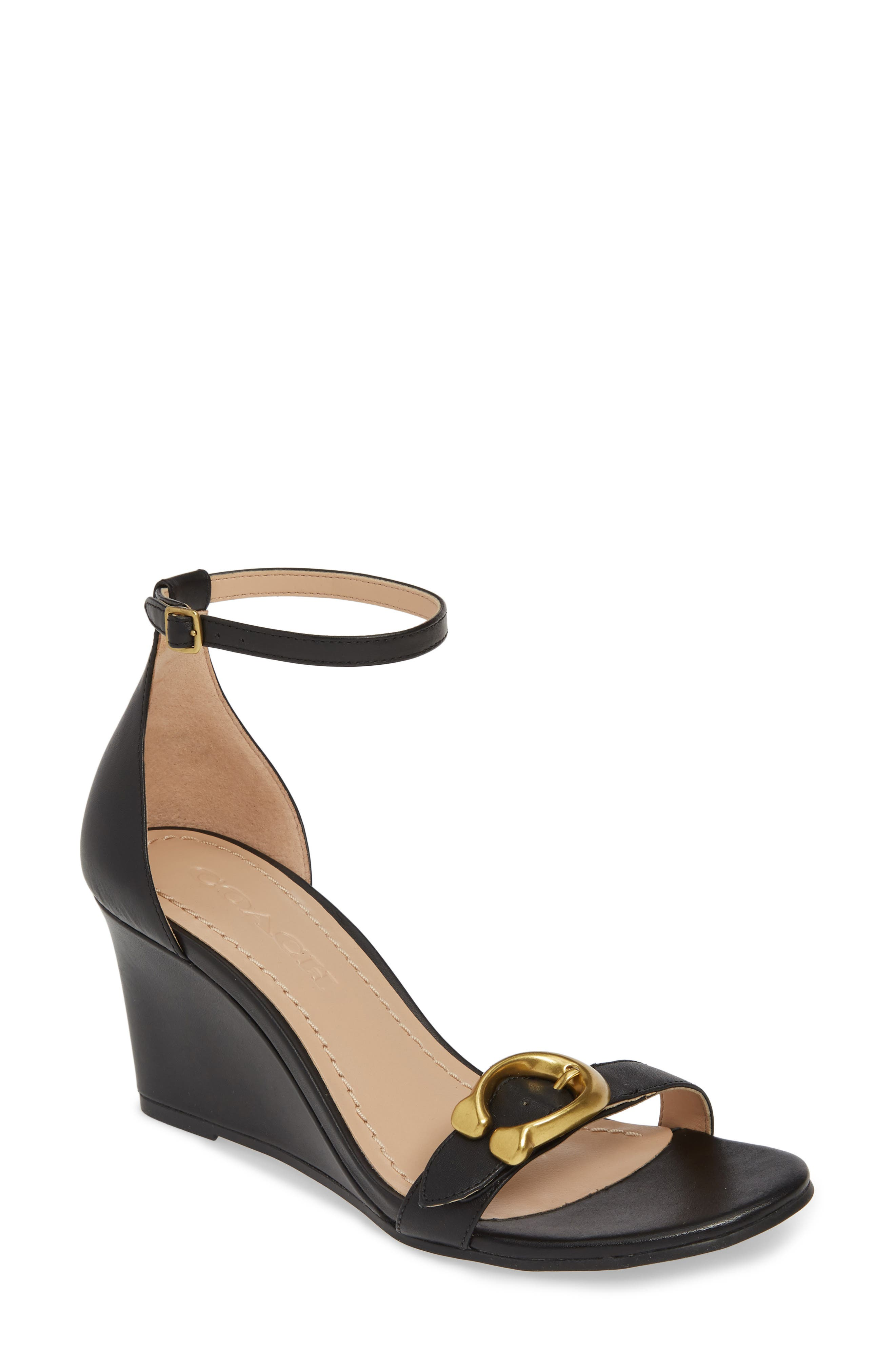 COACH, Odetta Wedge Ankle Strap Sandal, Main thumbnail 1, color, BLACK LEATHER