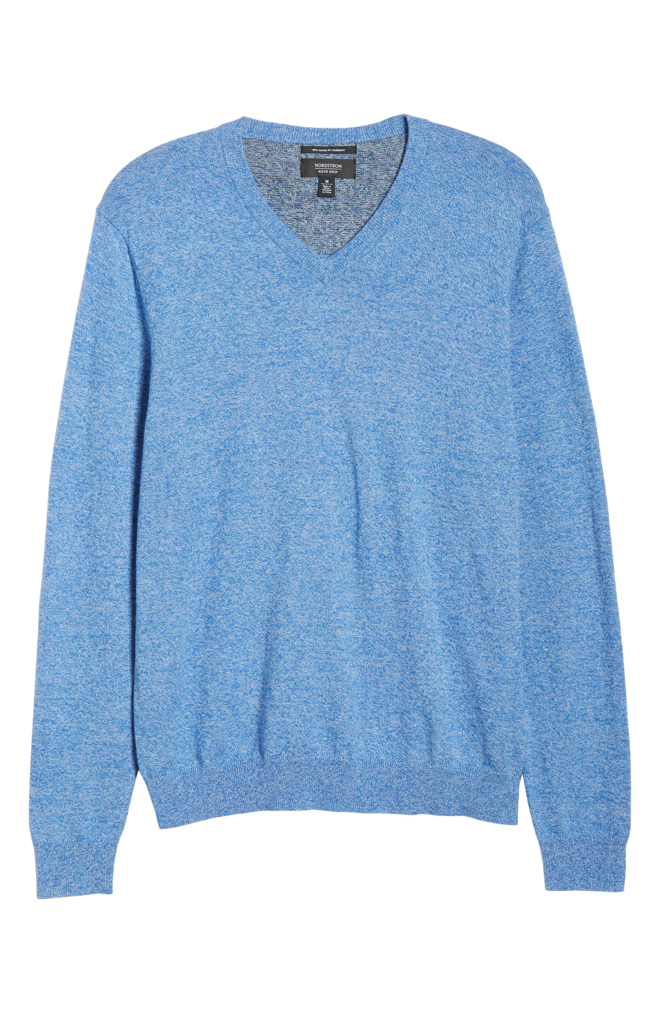 NORDSTROM MEN'S SHOP, Cotton & Cashmere V-Neck Sweater, Alternate thumbnail 6, color, BLUE CAMP MARL