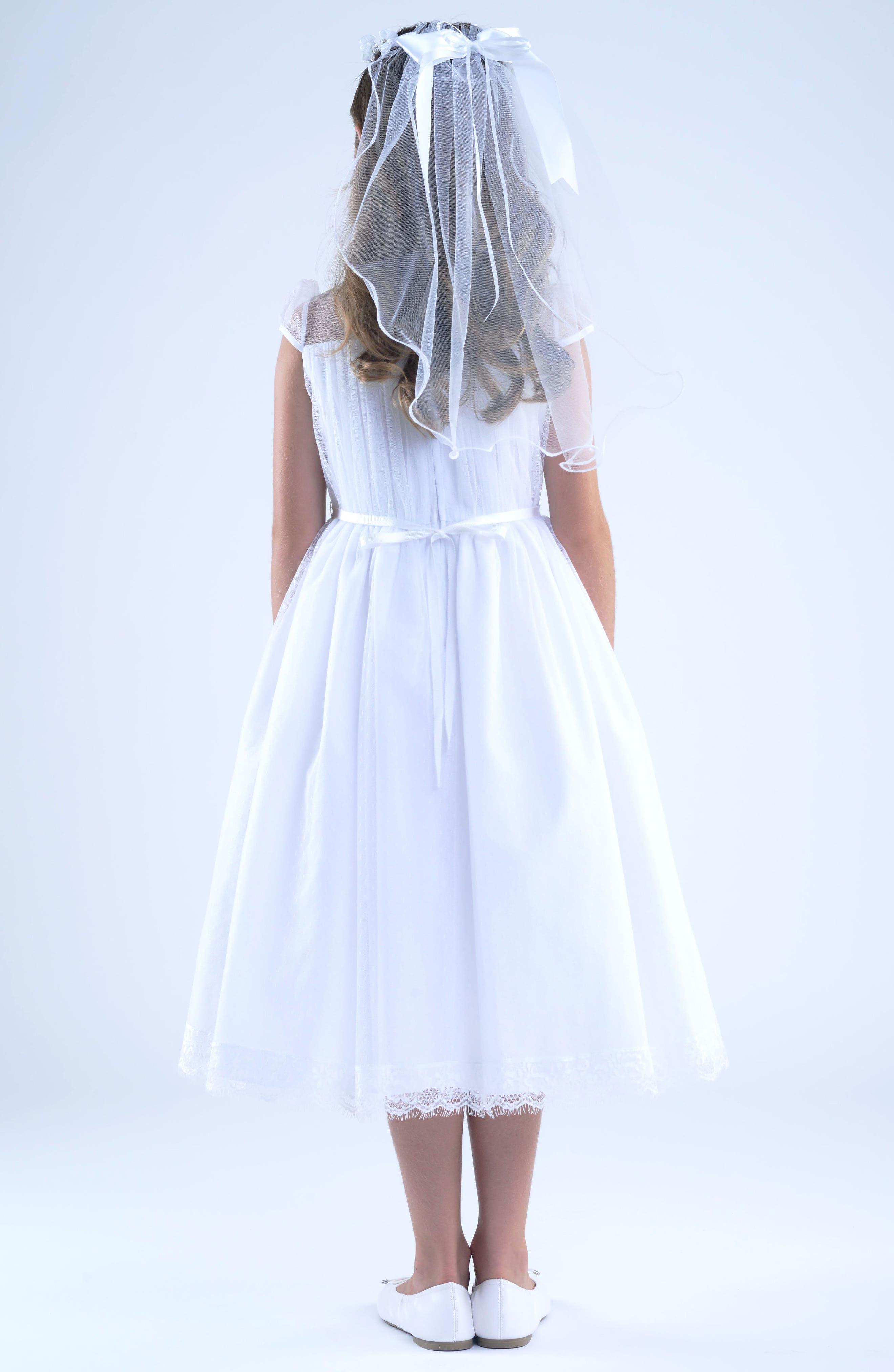 US ANGELS, Illusion Neckline Dress, Alternate thumbnail 5, color, WHITE