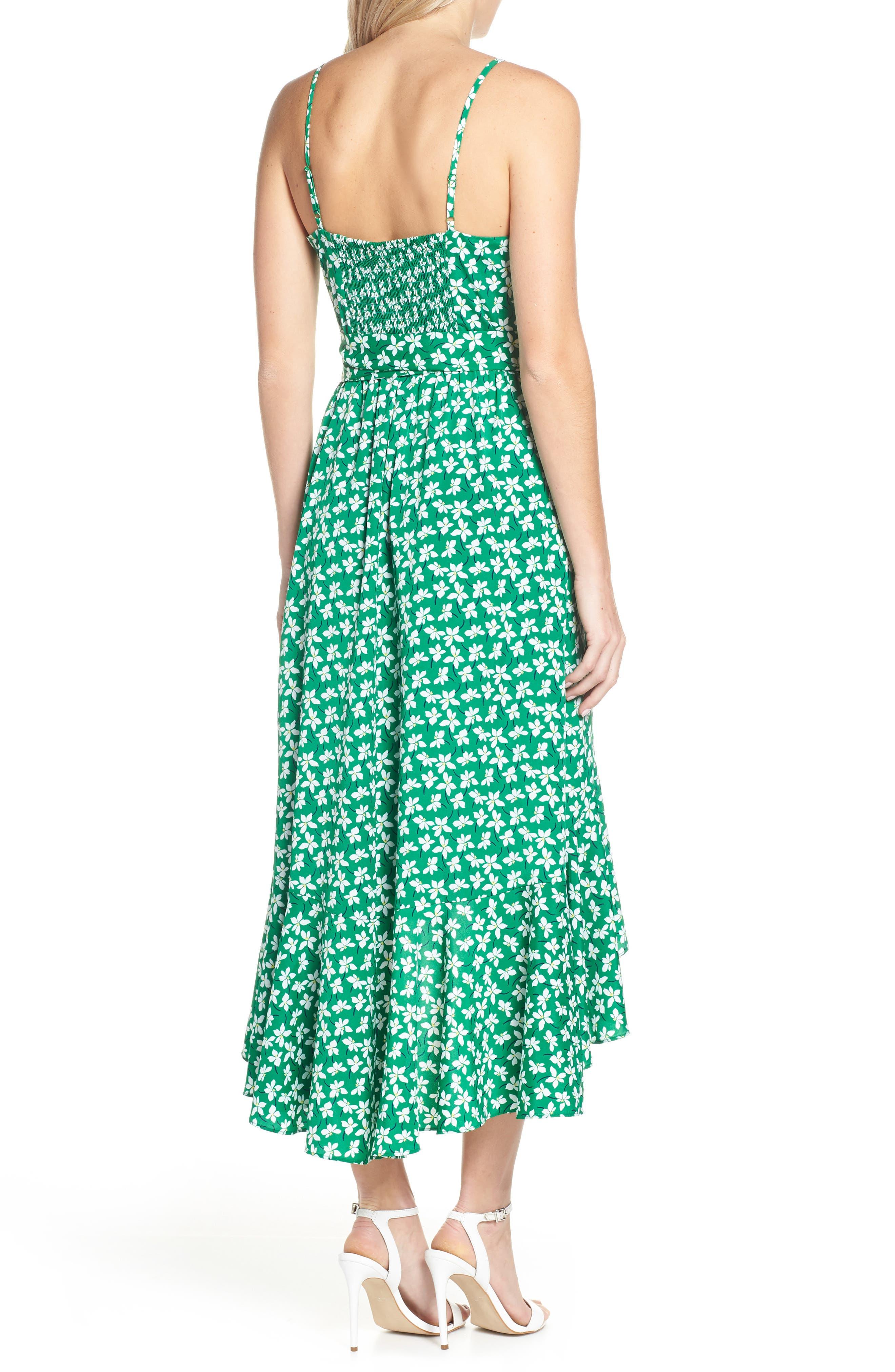 ELIZA J, Floral High/Low Faux Wrap Dress, Alternate thumbnail 2, color, GREEN