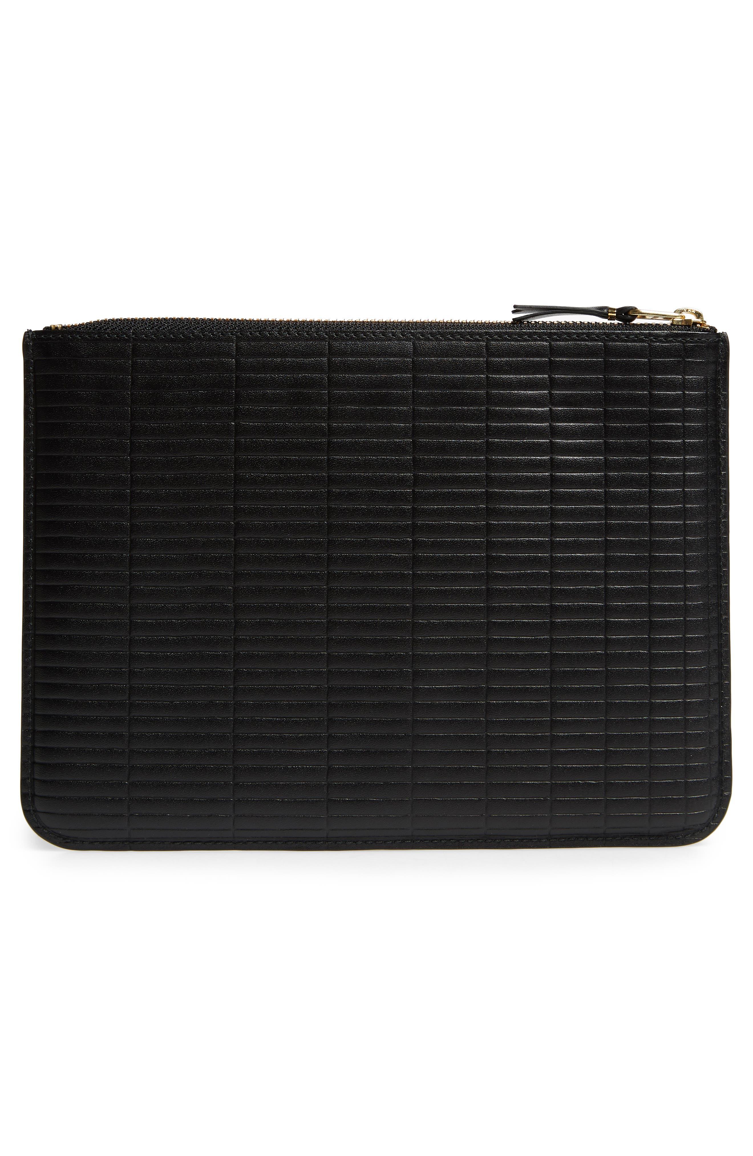 COMME DES GARÇONS, Brick Line Embossed Leather Pouch, Alternate thumbnail 3, color, BLACK