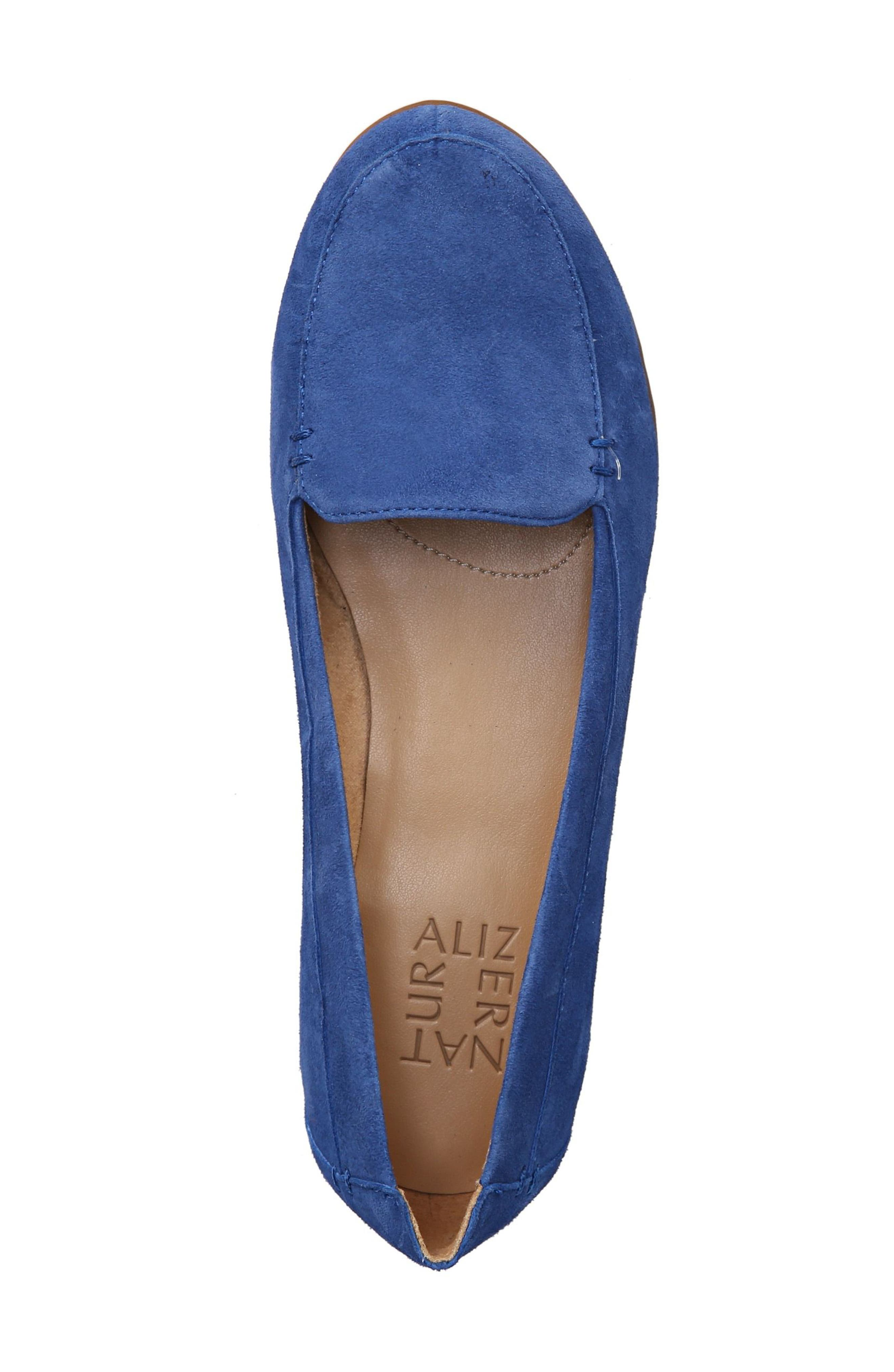 NATURALIZER, 'Saban' Leather Loafer, Alternate thumbnail 5, color, FRENCH BLUE SUEDE