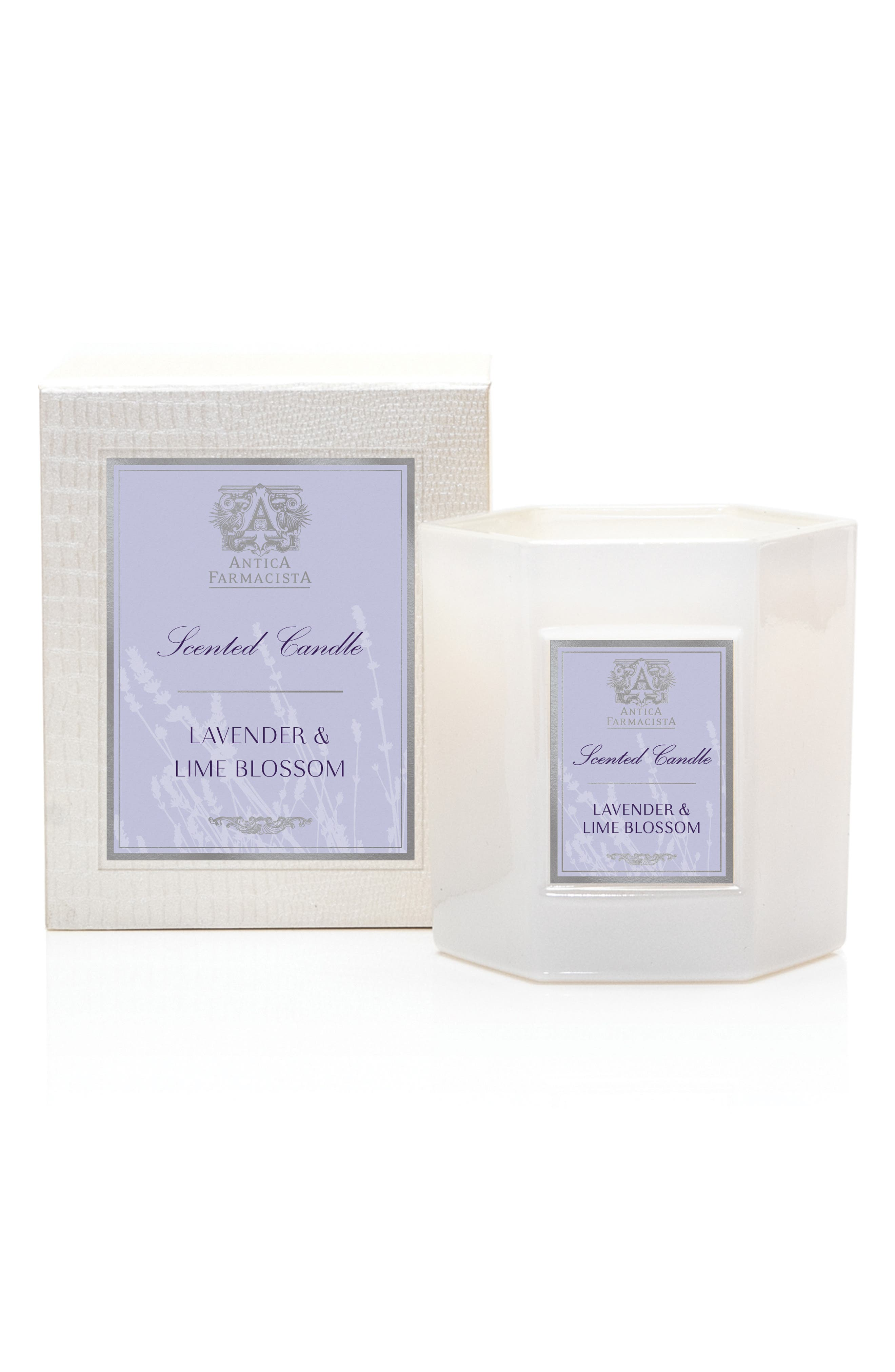 ANTICA FARMACISTA, Lavender and Lime Blossom Candle, Main thumbnail 1, color, 000