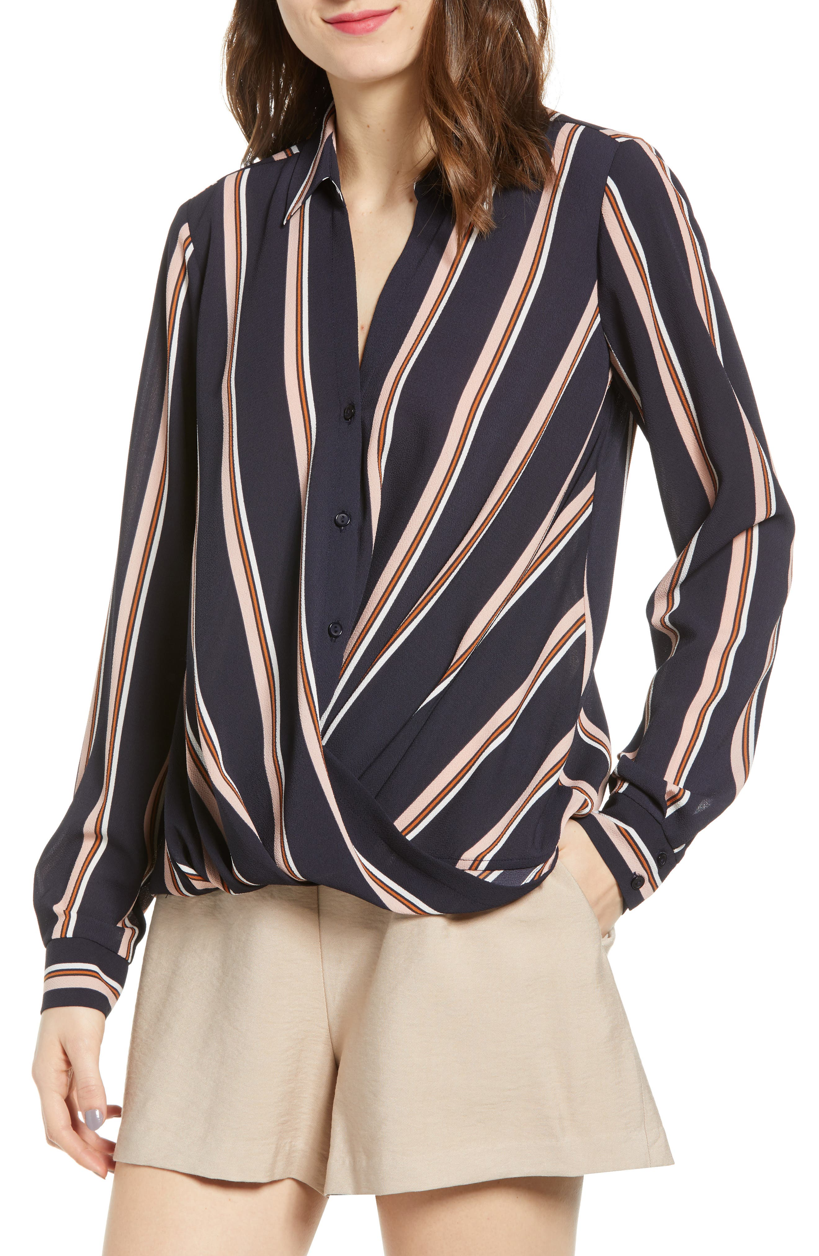 ALL IN FAVOR Patterned Drape Front Blouse, Main, color, NAVY STRIPE