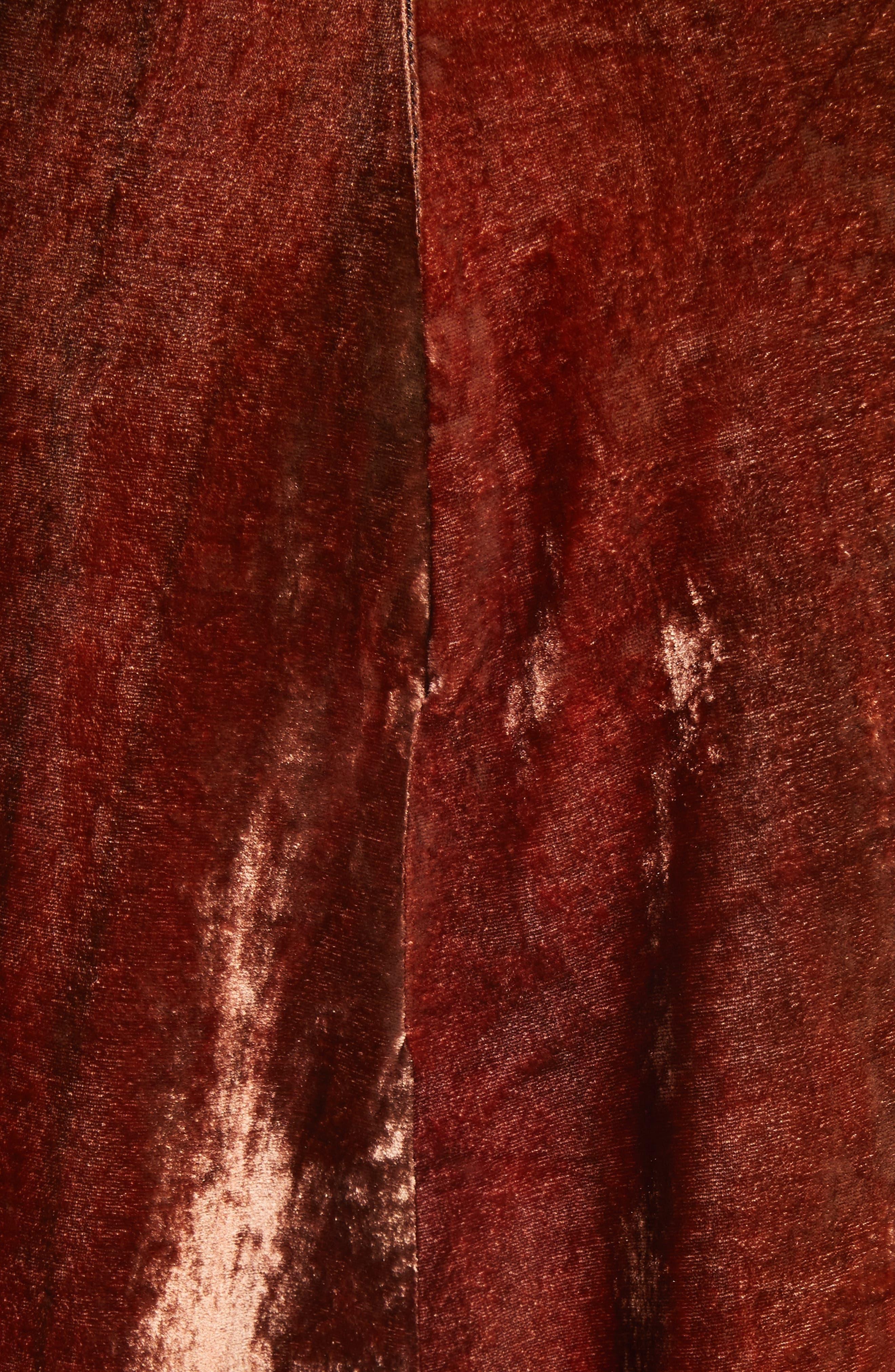 ELLERY, The Blues Lace Up Crushed Velvet Midi Skirt, Alternate thumbnail 5, color, 800