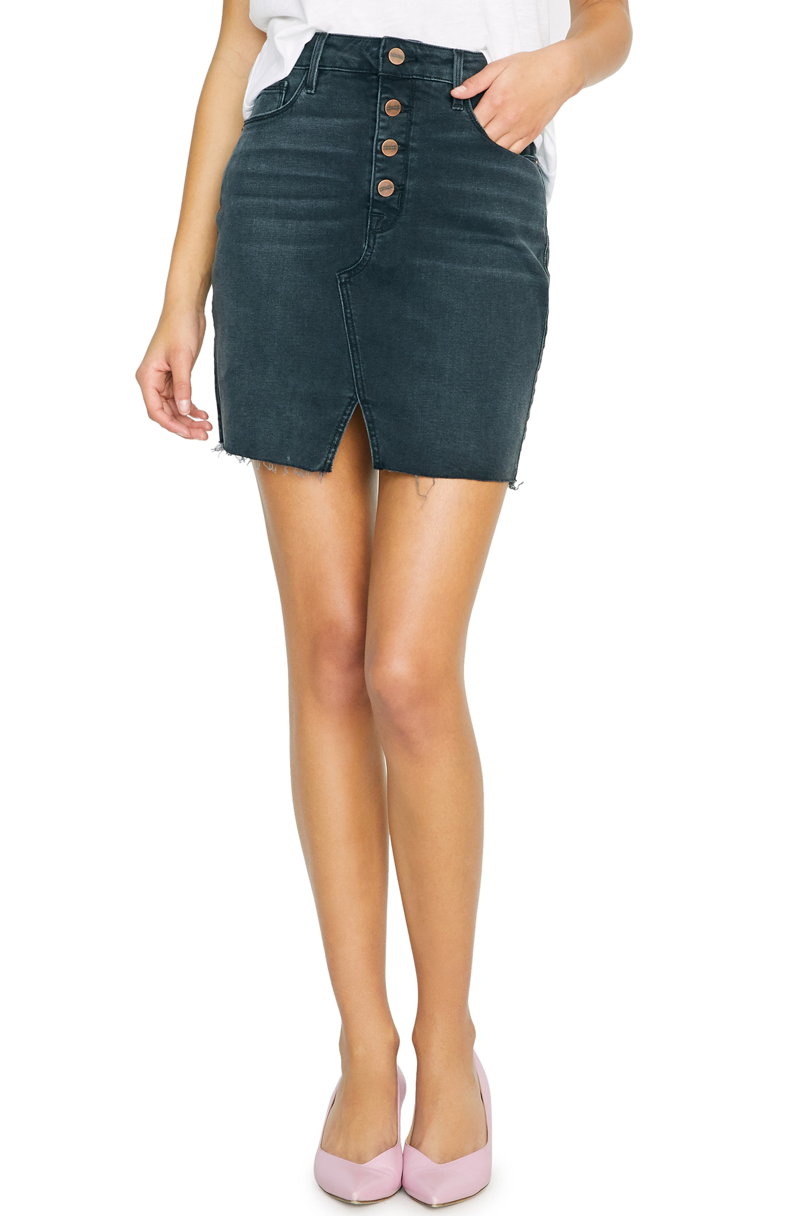 SANCTUARY Raw Edge Denim Miniskirt, Main, color, ECHO BLACK