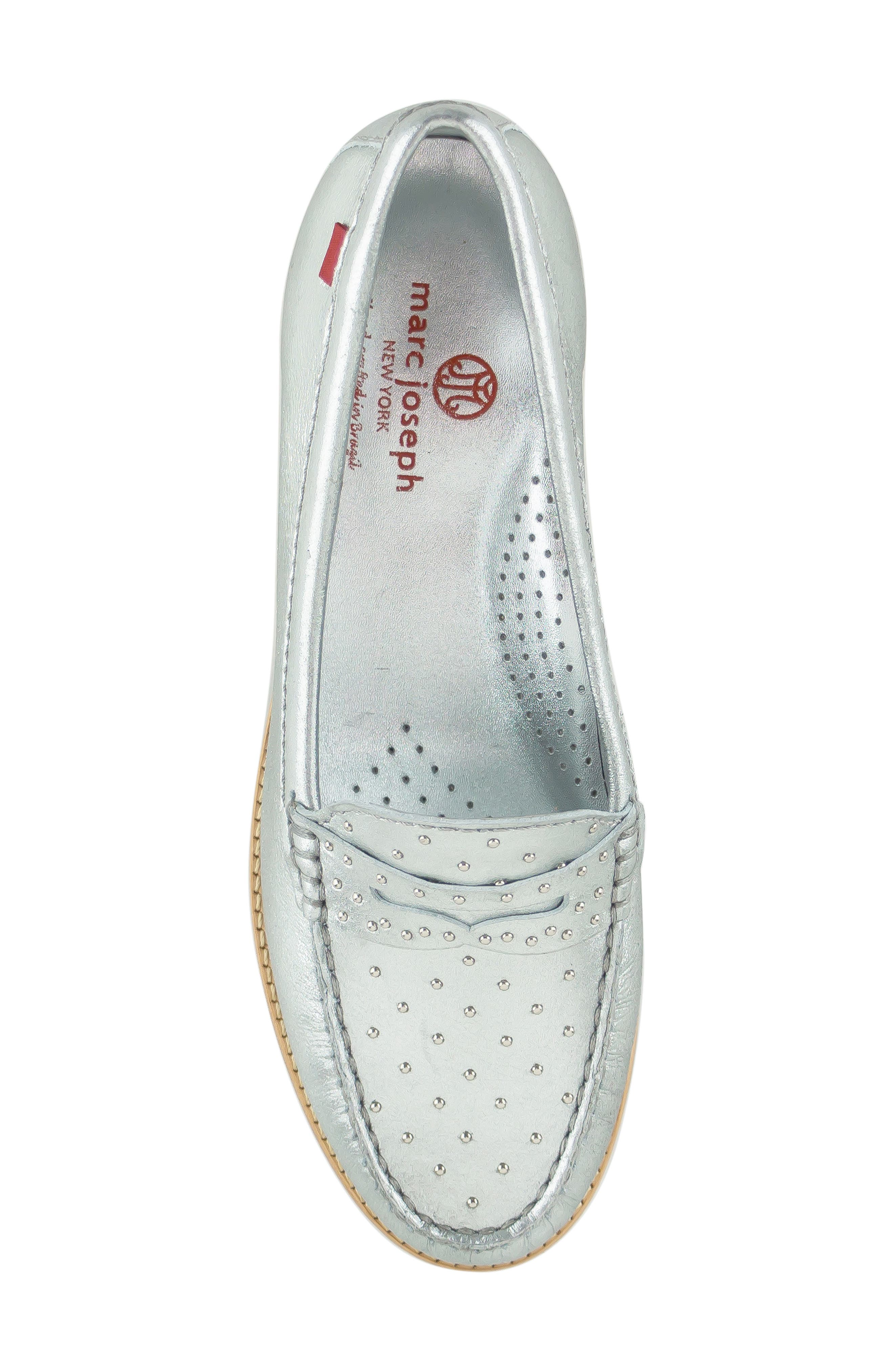 MARC JOSEPH NEW YORK, East Village III Studded Loafer, Alternate thumbnail 5, color, SILVER LEATHER