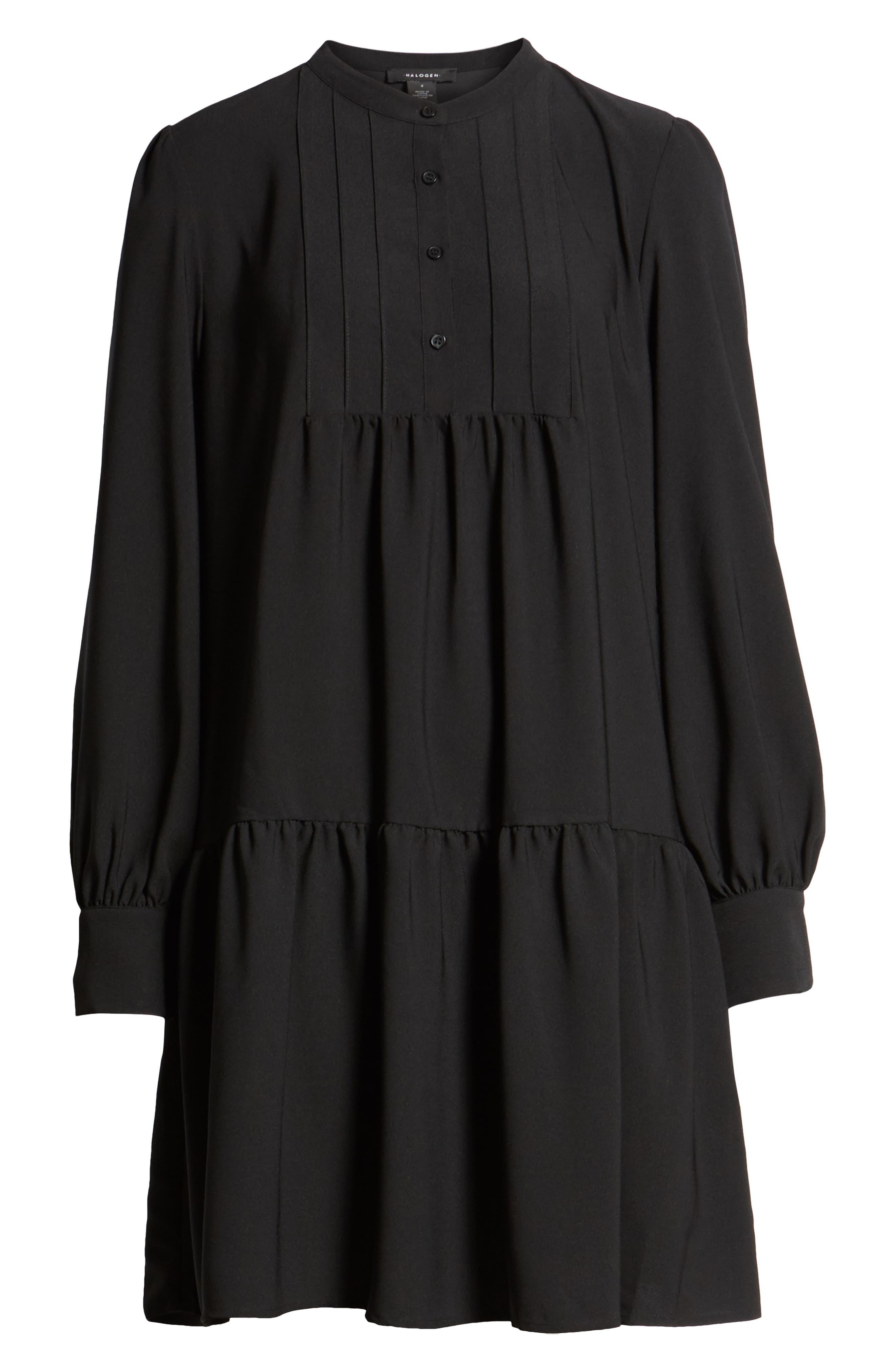 HALOGEN<SUP>®</SUP>, Pintuck Detail Shift Dress, Alternate thumbnail 7, color, BLACK