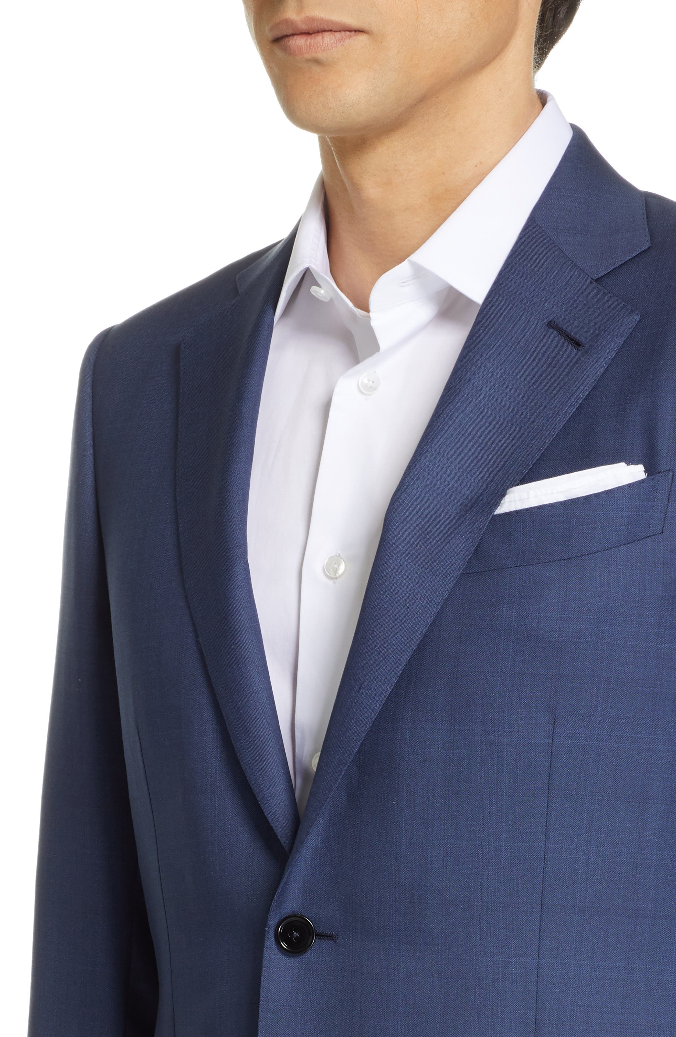 ERMENEGILDO ZEGNA, Trofeo Classic Fit Plaid Wool & Silk Suit, Alternate thumbnail 4, color, BLUE