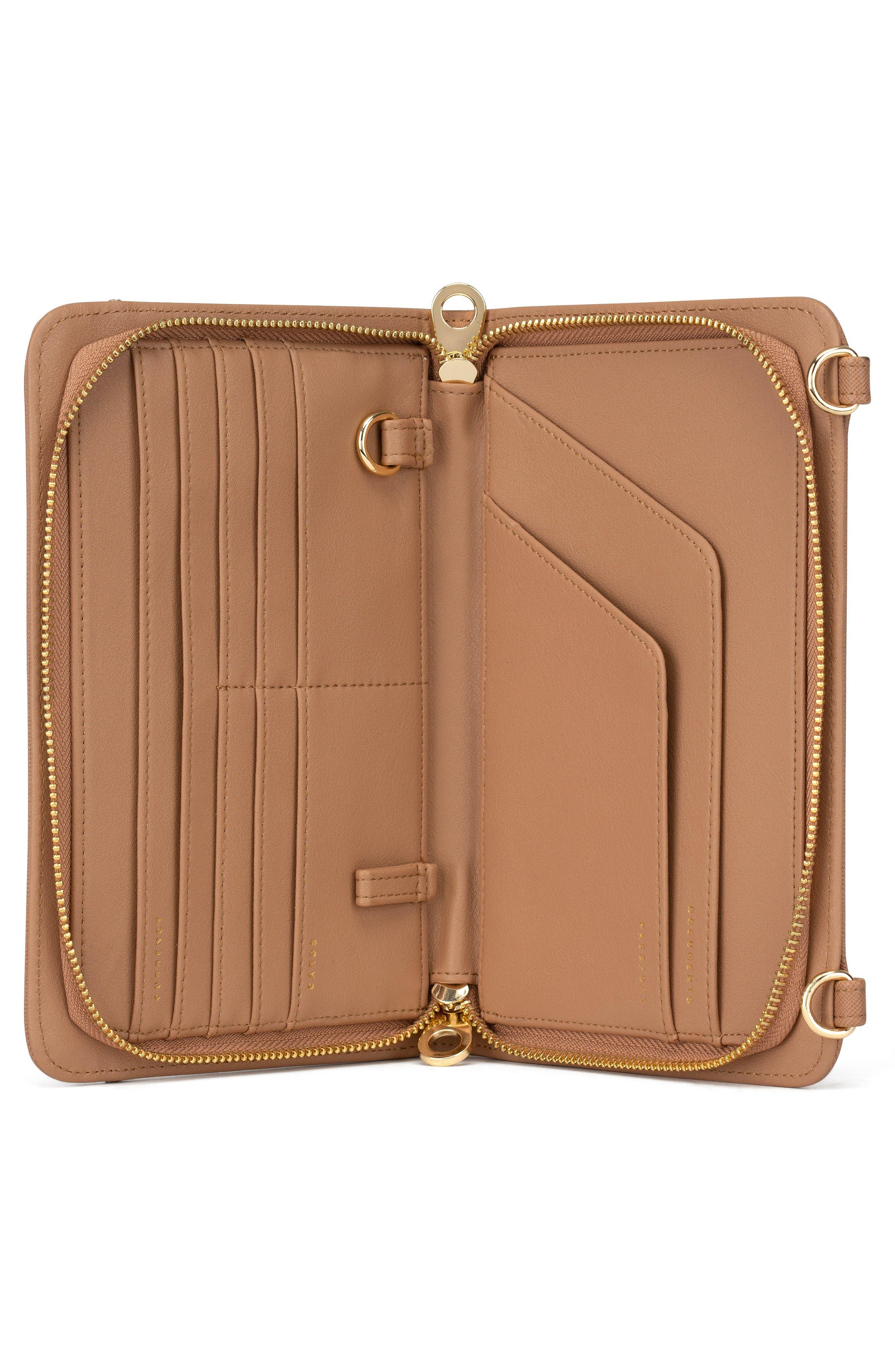 CALPAK, Faux Leather RFID Travel Wallet, Alternate thumbnail 7, color, CARAMEL