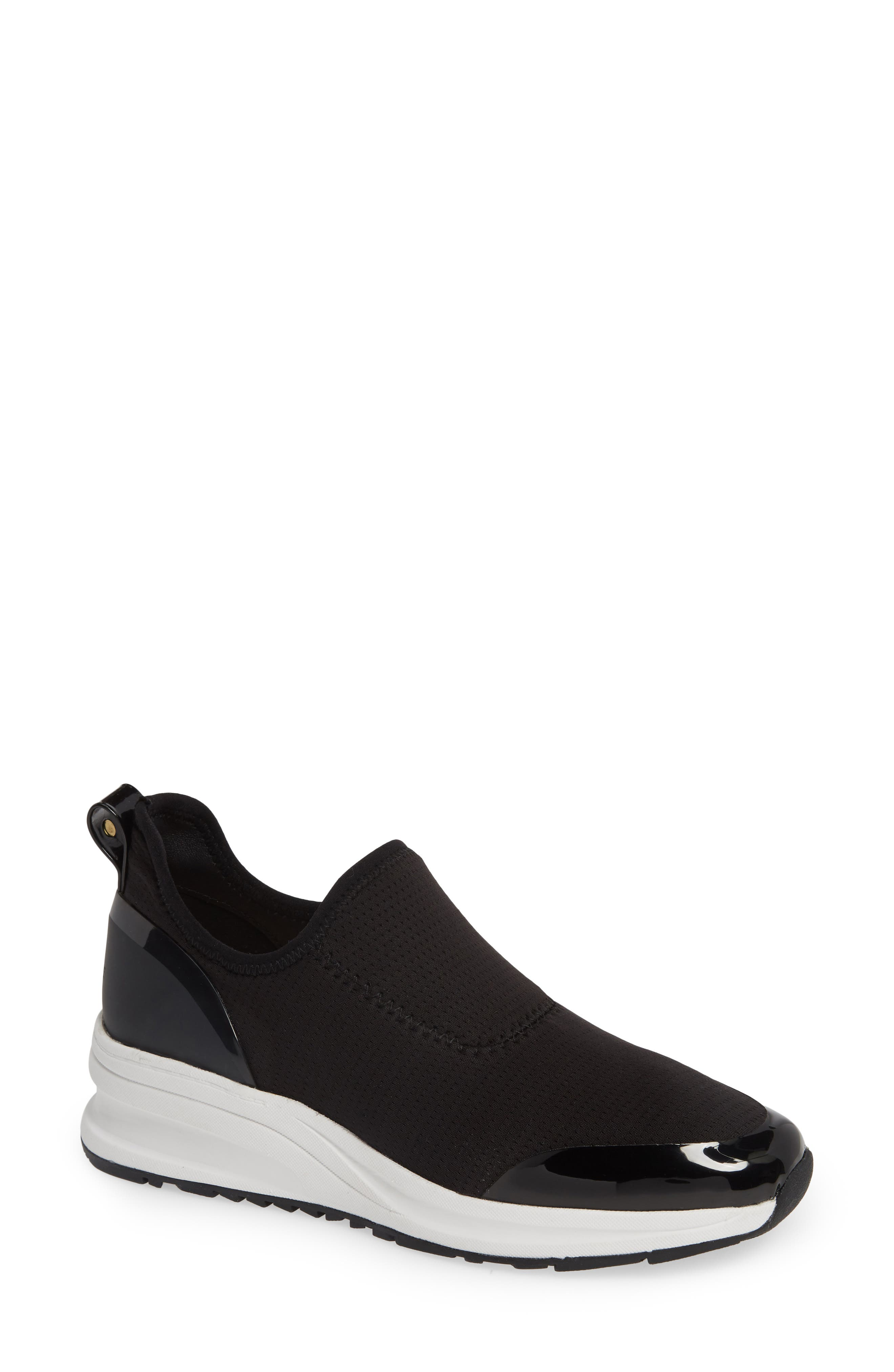 TARYN ROSE, Zabella Slip-On Sneaker, Main thumbnail 1, color, BLACK STRETCH FABRIC