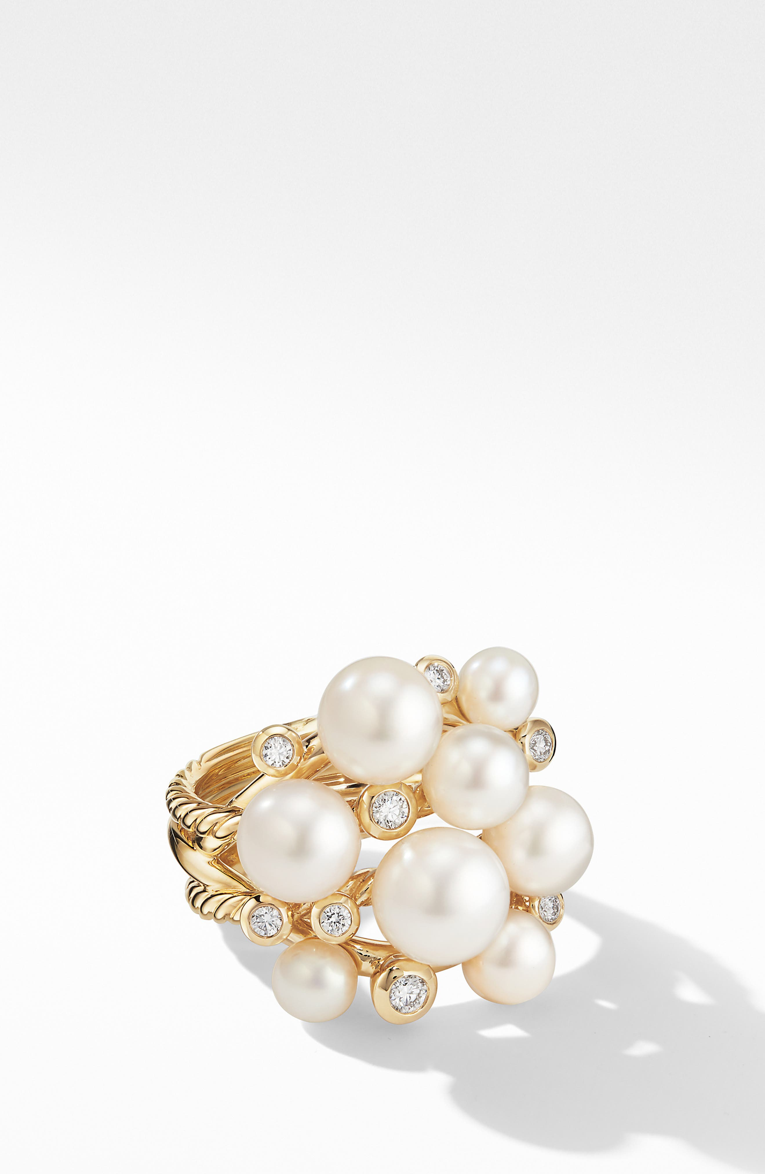 DAVID YURMAN, Large Pearl Cluster Ring with Diamonds, Main thumbnail 1, color, YELLOW GOLD/ DIAMOND/ PEARL