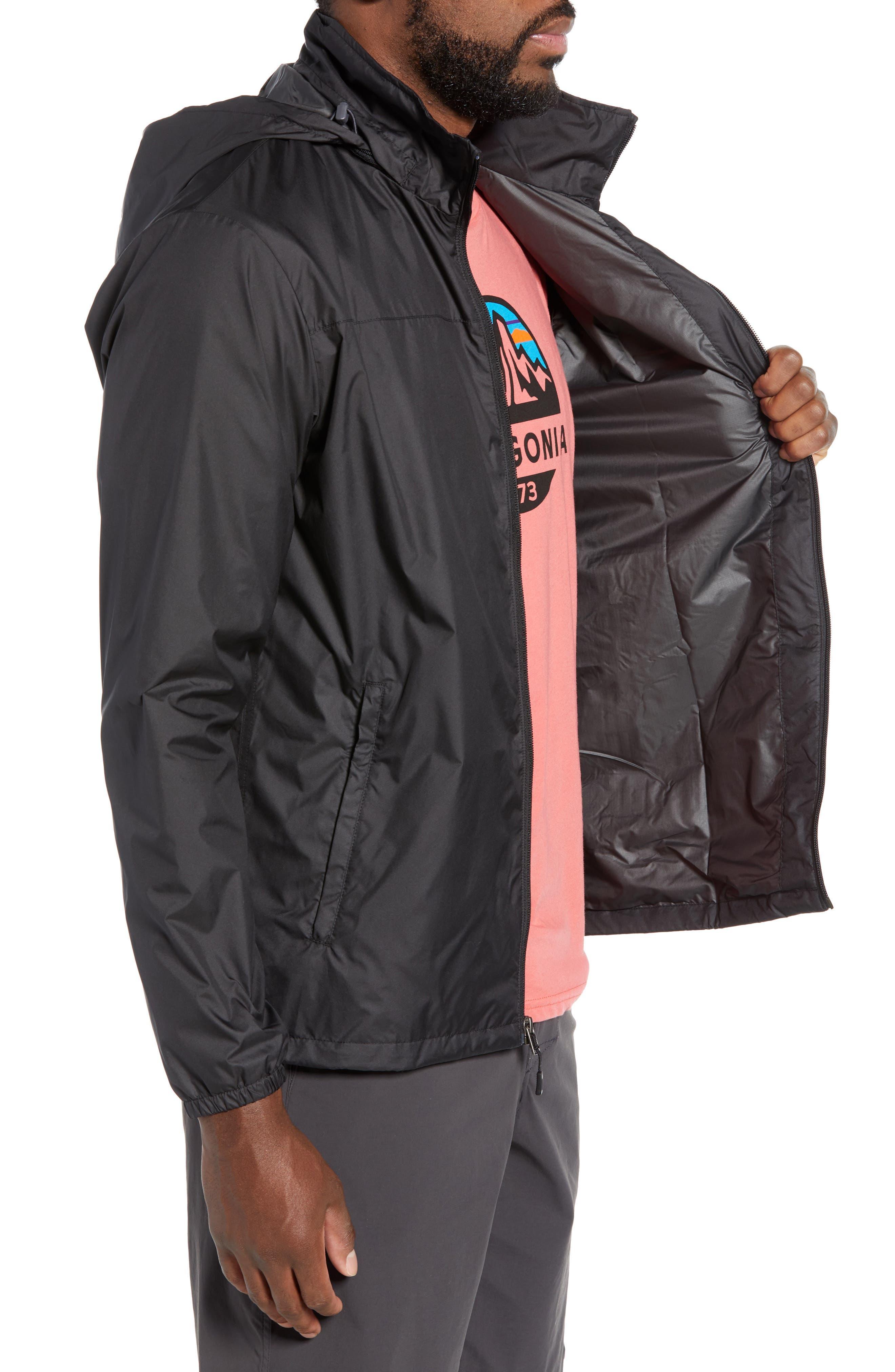 PATAGONIA, Light & Variable<sup>™</sup> Wind & Water Resistant Hooded Jacket, Alternate thumbnail 4, color, INK BLACK