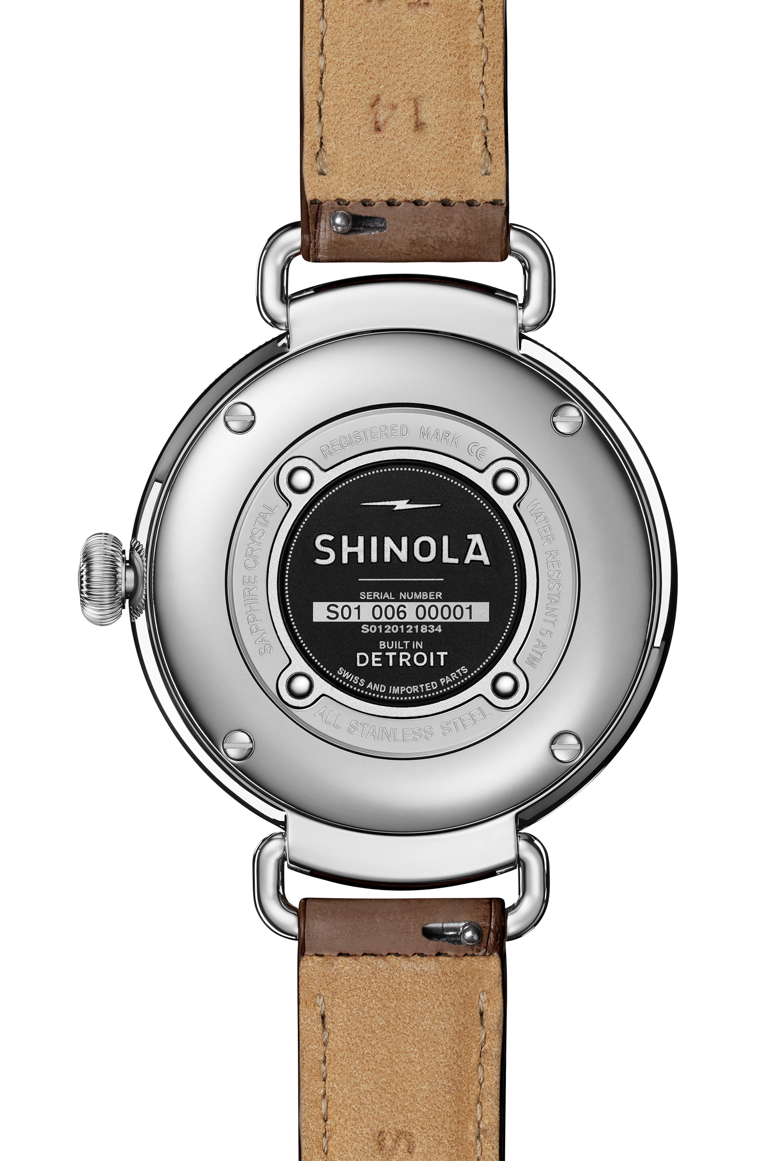 SHINOLA, The Canfield Alligator Strap Watch, 38mm, Alternate thumbnail 2, color, GREY/ TAUPE SUNRAY/ SILVER
