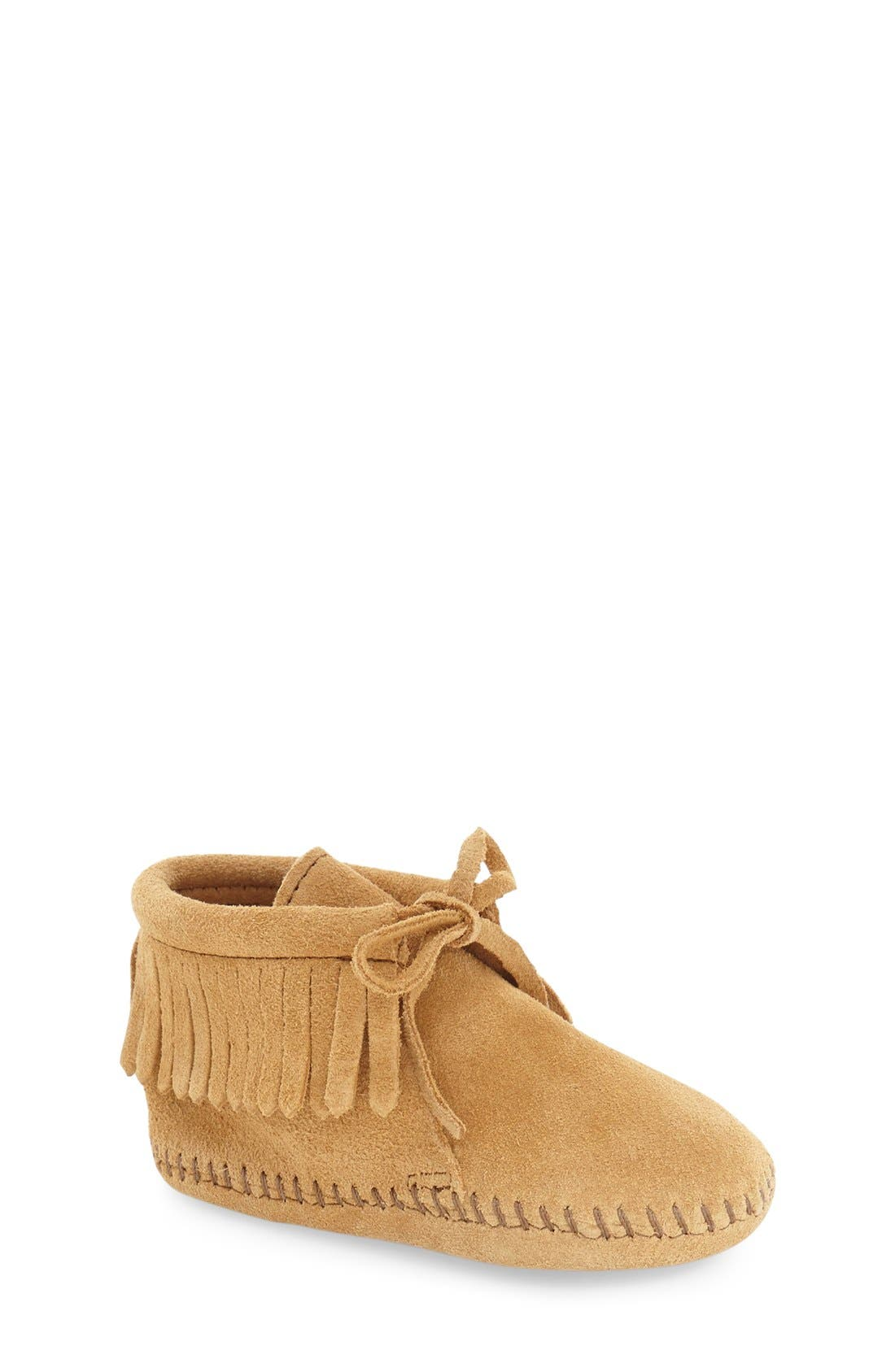 MINNETONKA, Fringe Bootie, Main thumbnail 1, color, TAN SUEDE