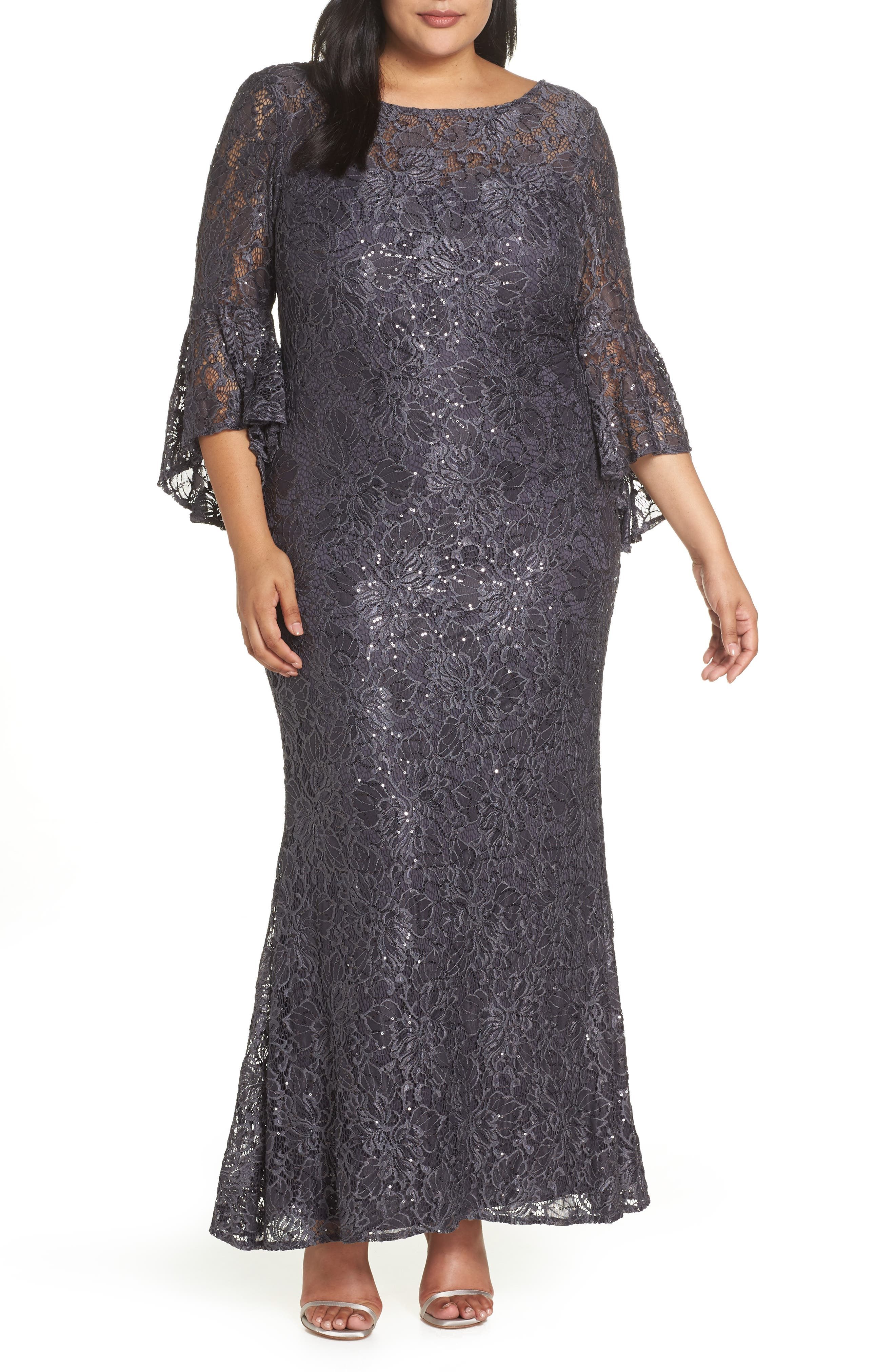 MORGAN & CO., Lace Bell Sleeve Gown, Main thumbnail 1, color, CHARCOAL
