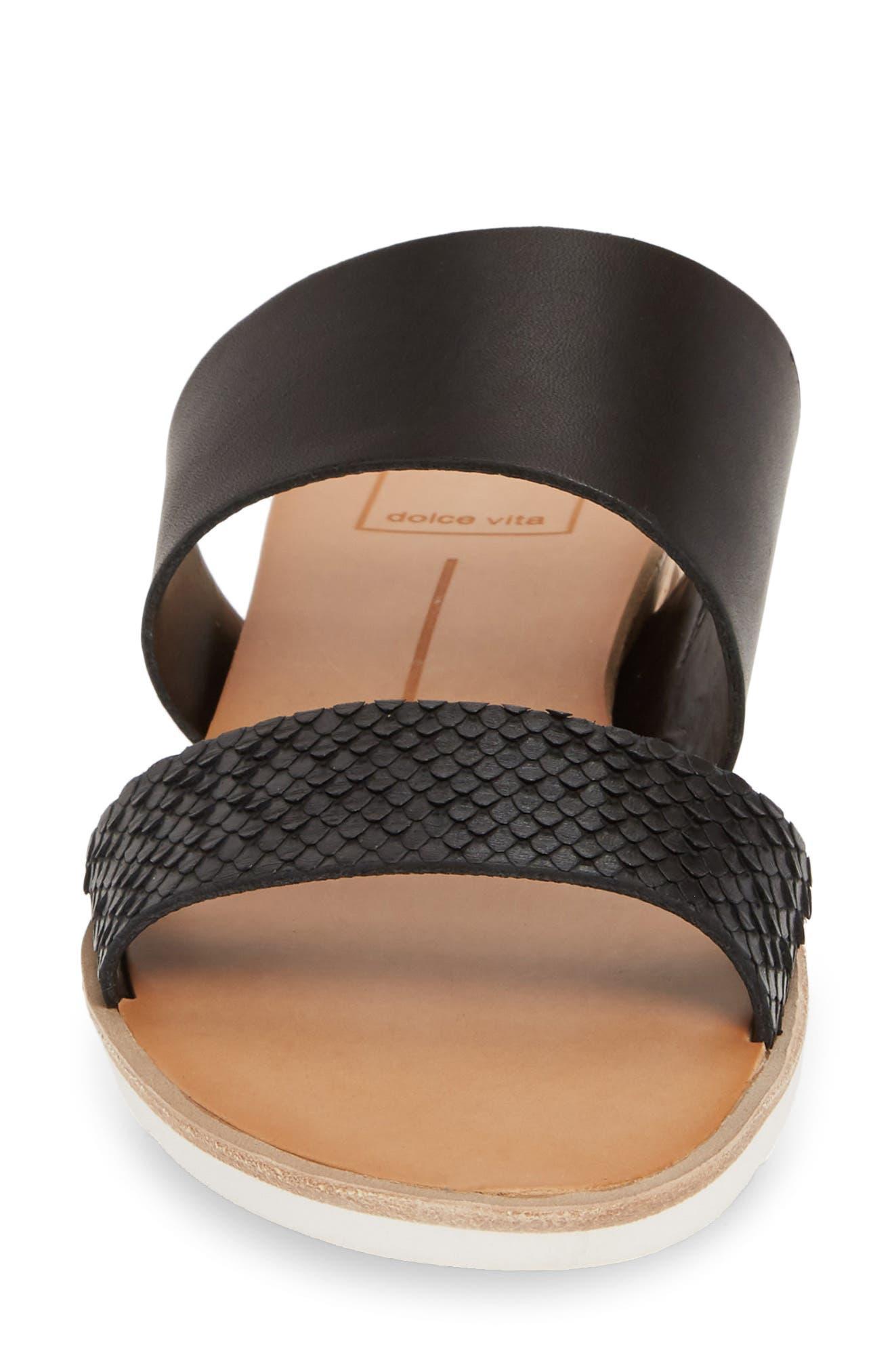 DOLCE VITA, Vala Wedge Slide Sandal, Alternate thumbnail 4, color, BLACK LEATHER