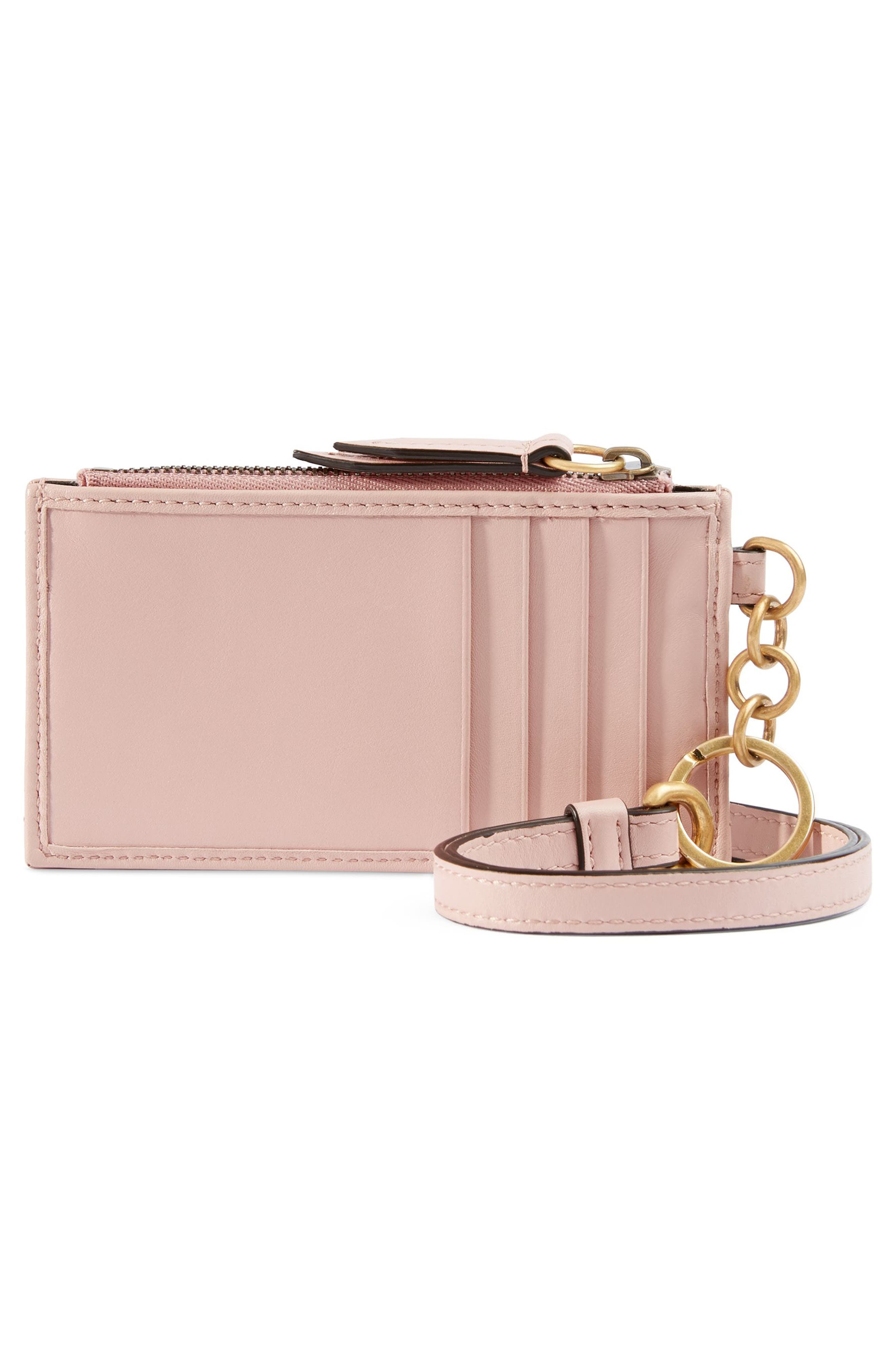 GUCCI, Marmont 2.0 Leather Card Case, Alternate thumbnail 3, color, PERFECT PINK