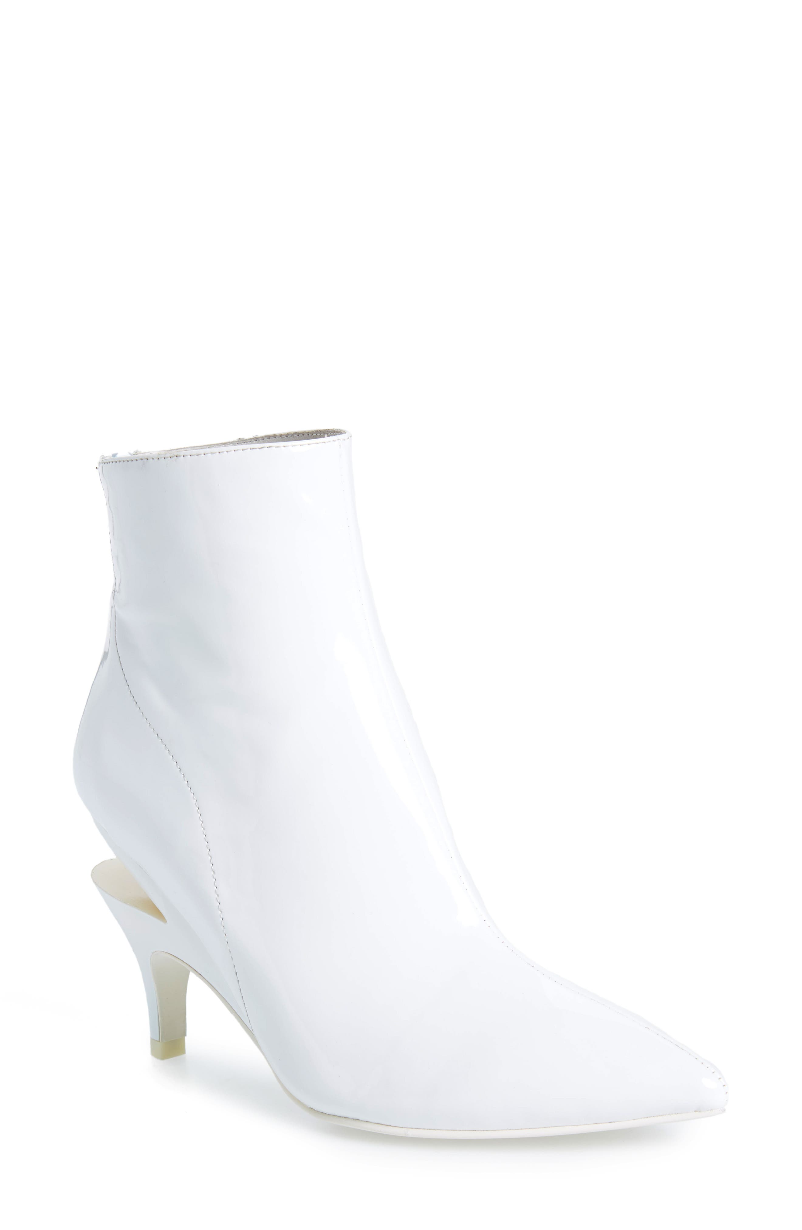 JEFFREY CAMPBELL, Museum Bootie, Main thumbnail 1, color, WHITE PATENT LEATHER