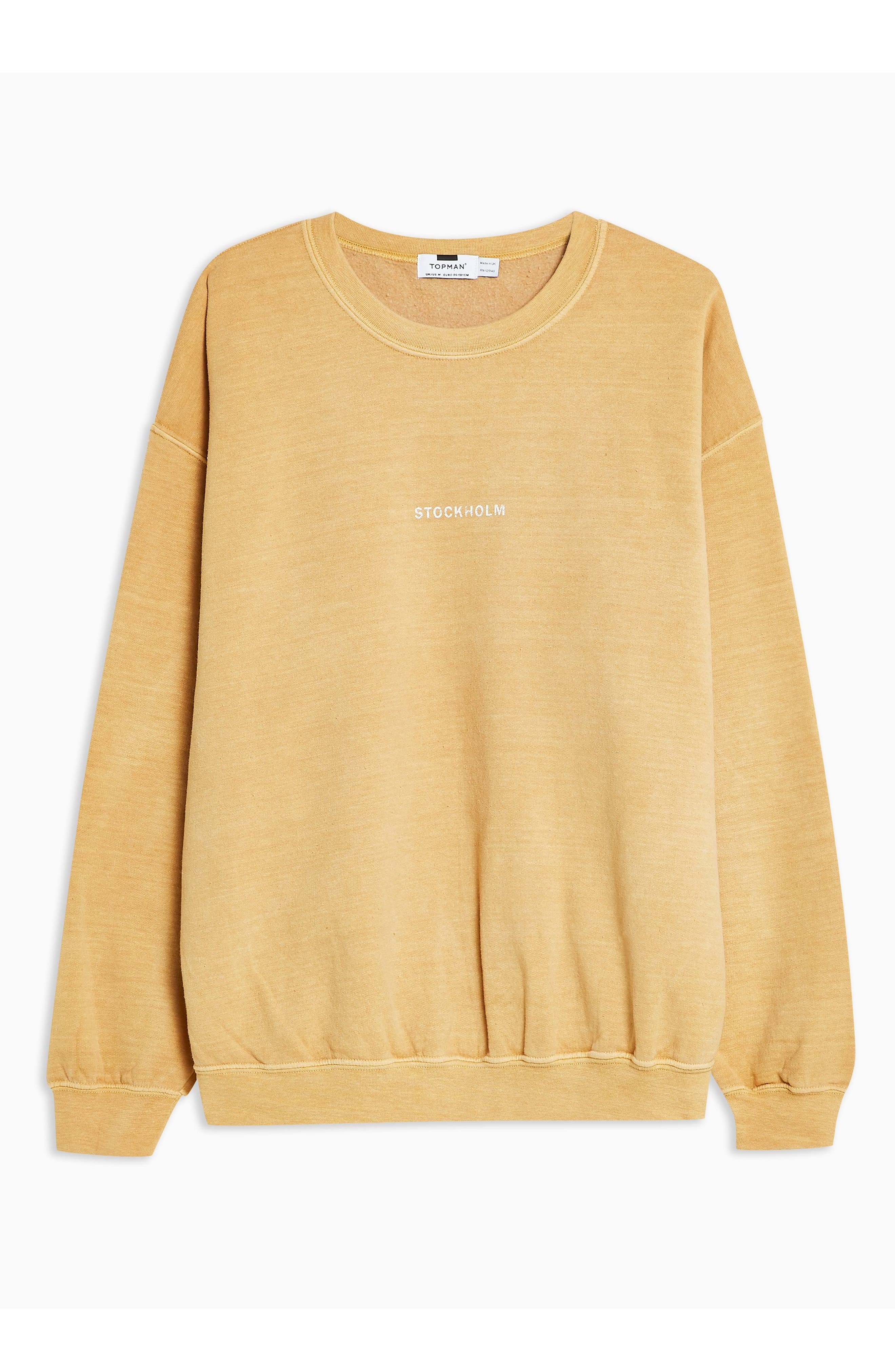 TOPMAN, Stockholm Sweatshirt, Alternate thumbnail 3, color, YELLOW