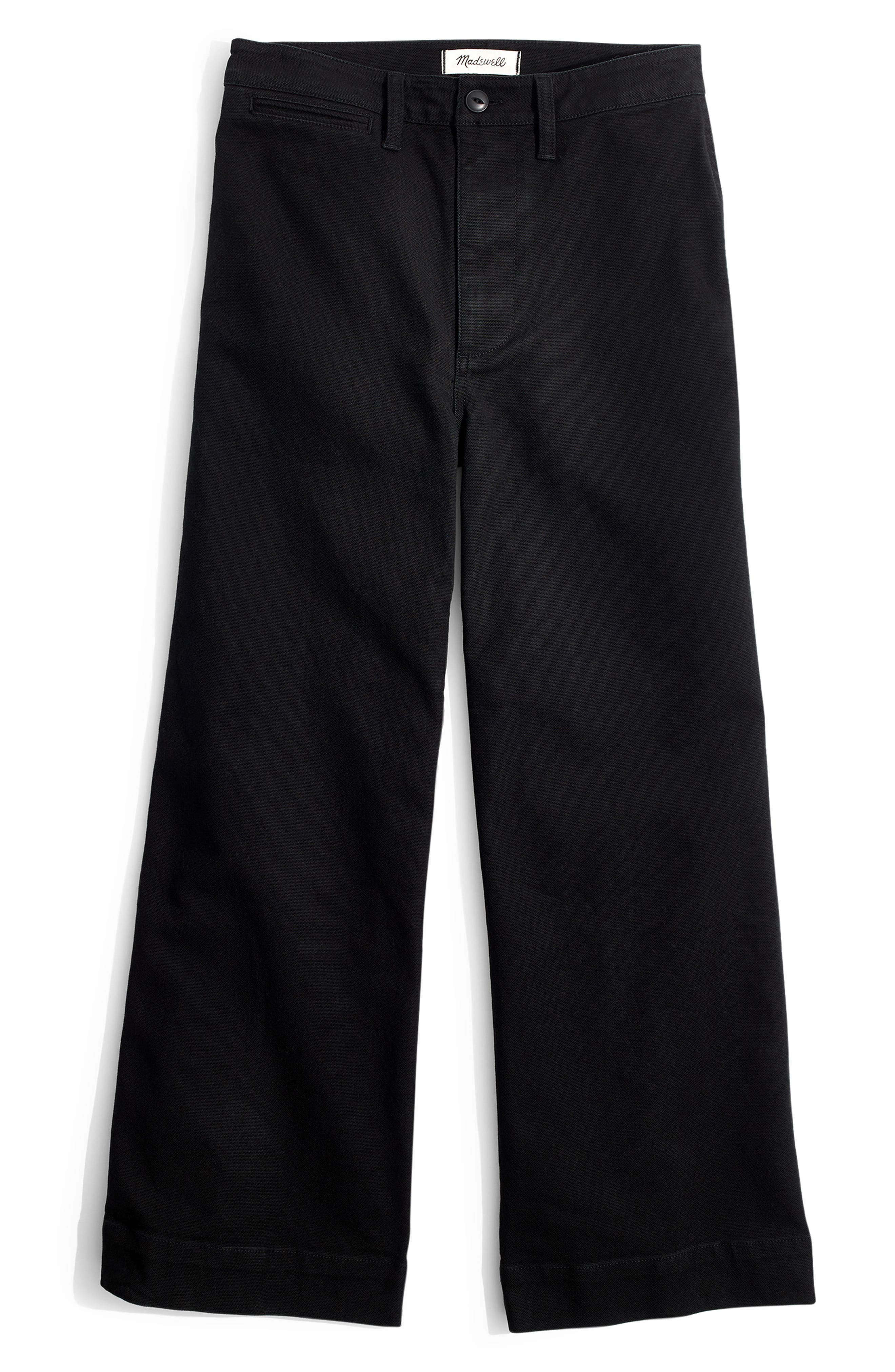 MADEWELL, Emmett Crop Wide Leg Pants, Alternate thumbnail 6, color, CLASSIC BLACK