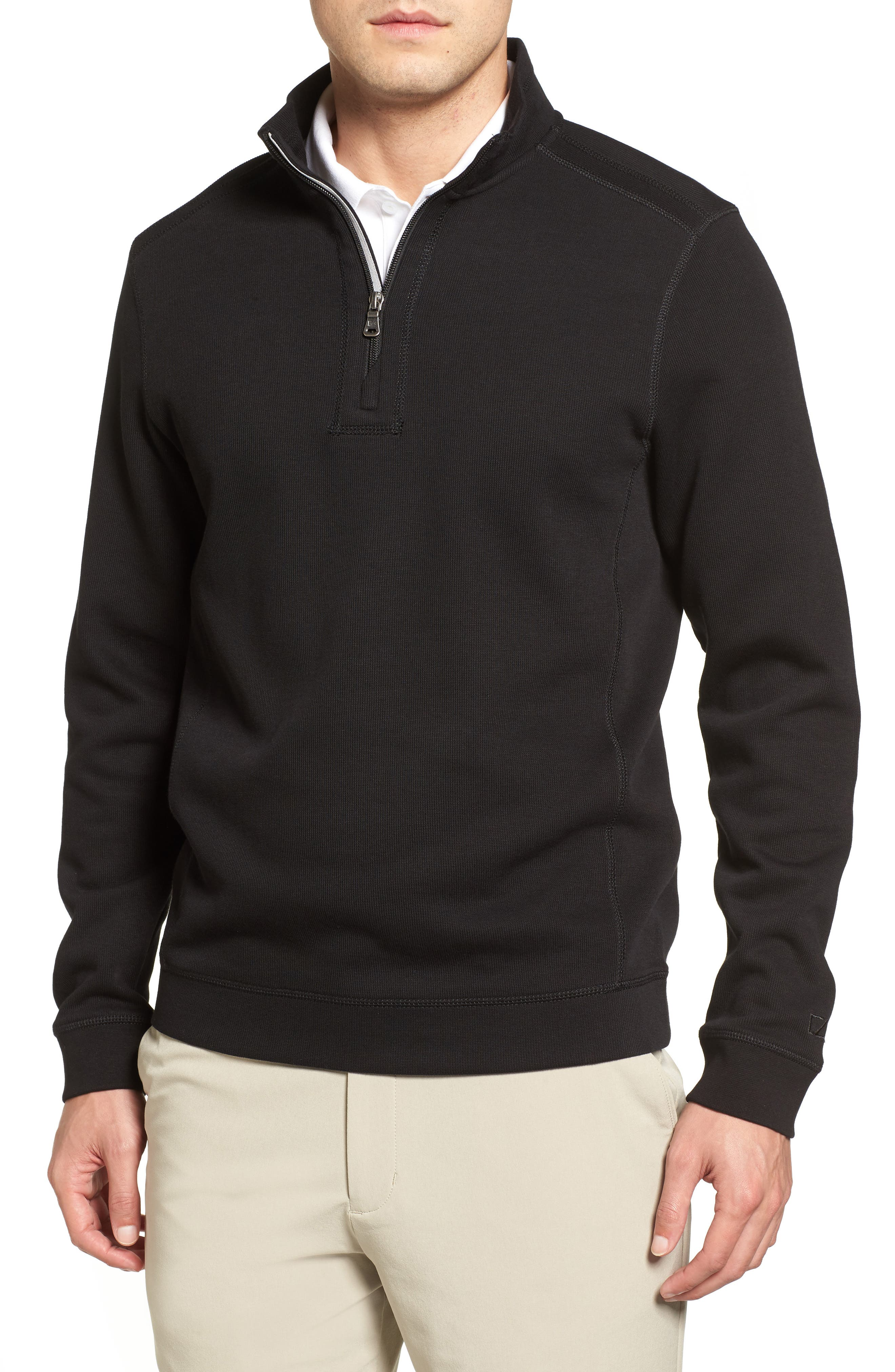 CUTTER & BUCK Bayview Quarter Zip Pullover, Main, color, BLACK