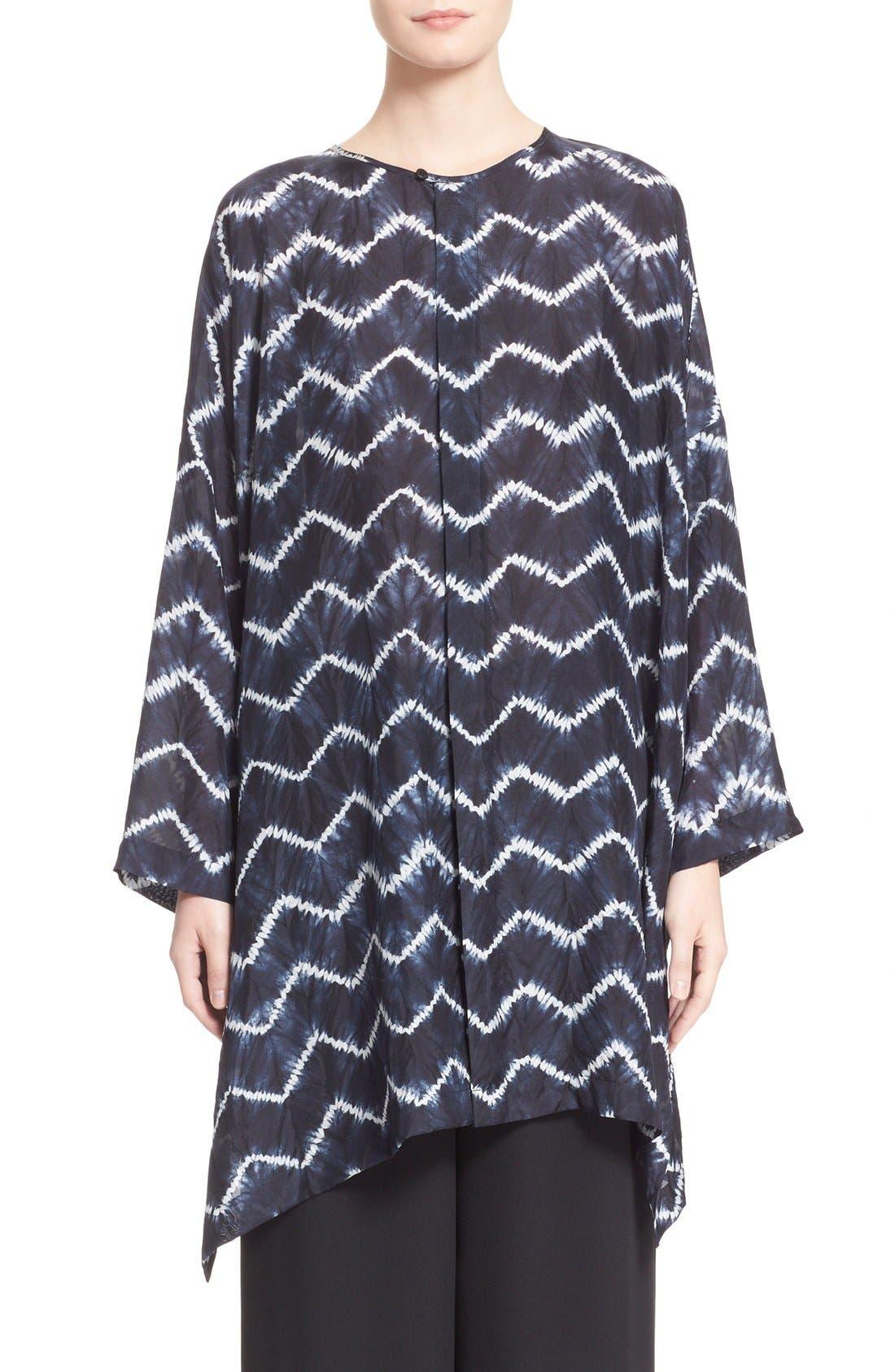 ESKANDAR Chevron Shibori Silk Tunic, Main, color, 411