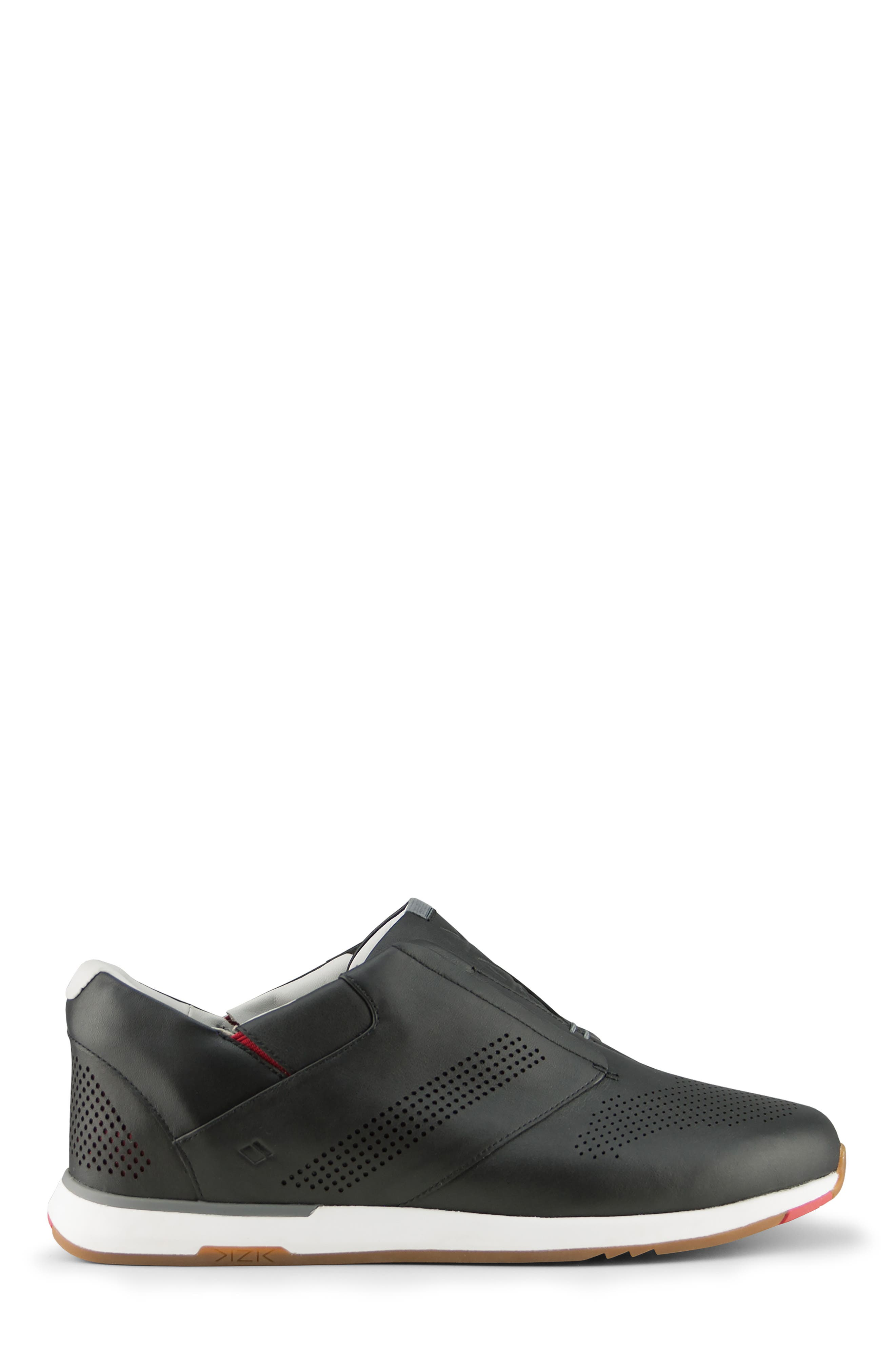 KIZIK, Dubai Slip-On Sneaker, Alternate thumbnail 2, color, BLACK LEATHER