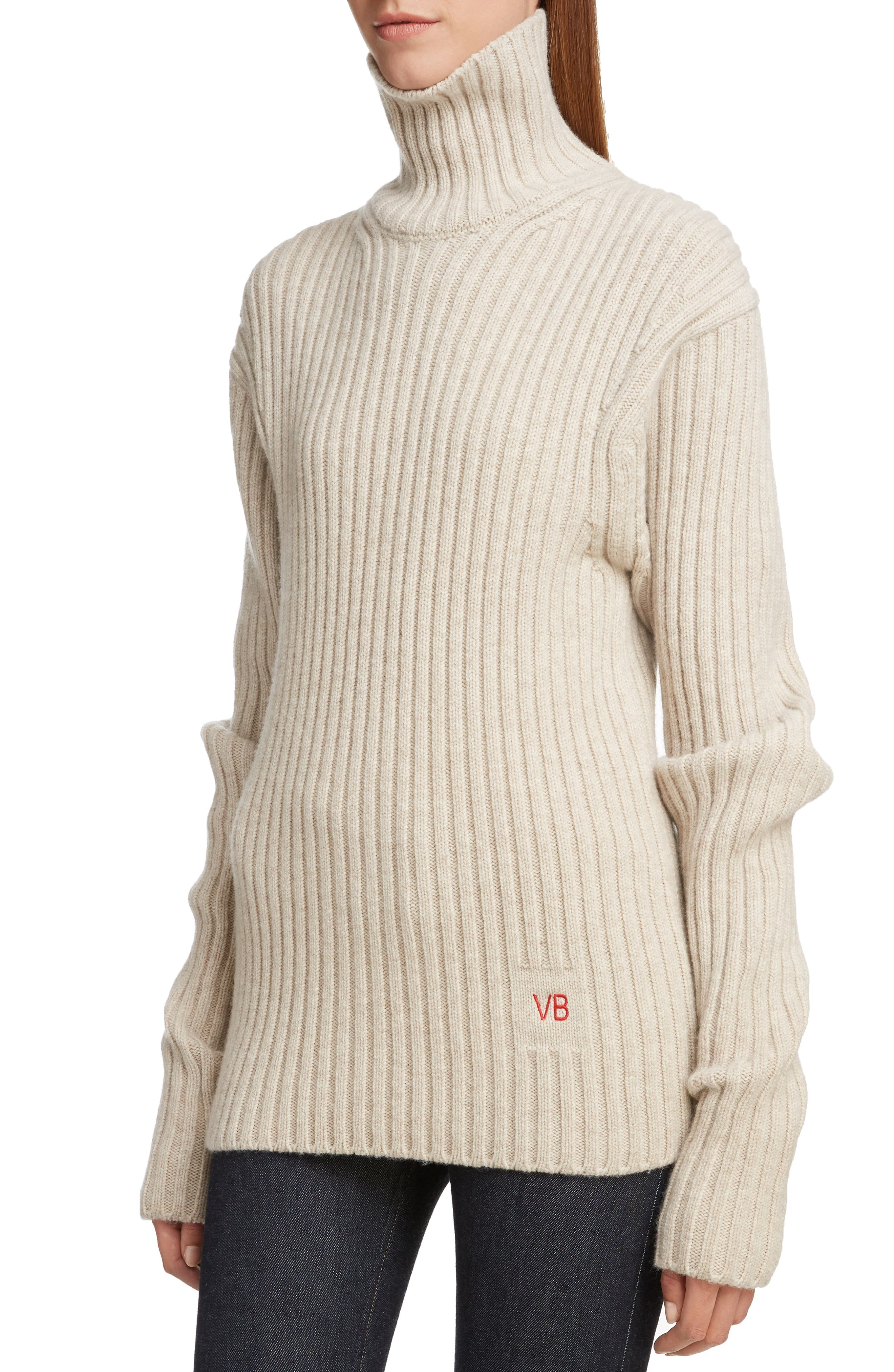 VICTORIA BECKHAM, Ribbed Wool Turtleneck Sweater, Alternate thumbnail 4, color, OATMEAL
