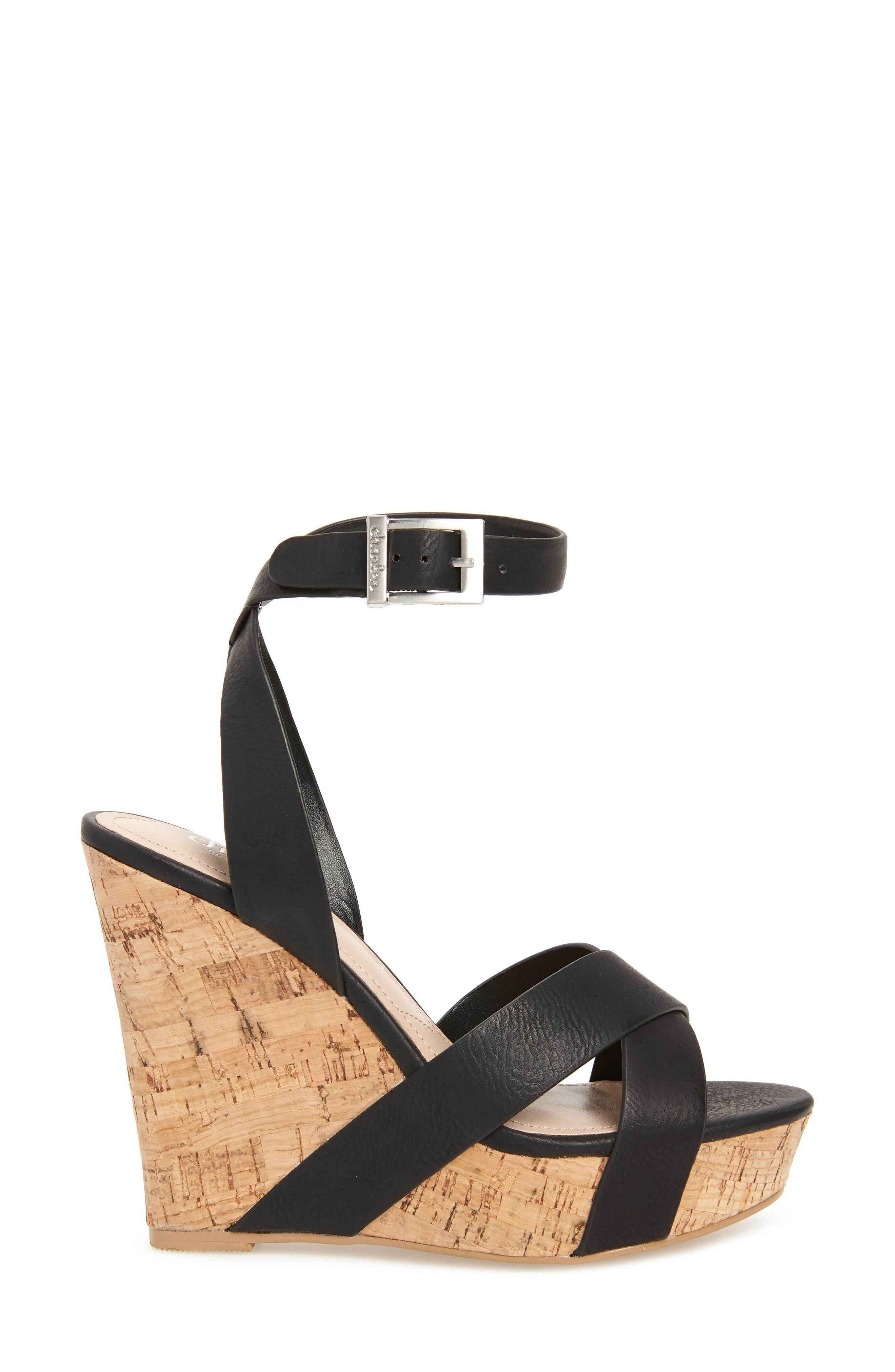 CHARLES BY CHARLES DAVID, Aleck Platform Wedge Sandal, Alternate thumbnail 3, color, BLACK FAUX LEATHER