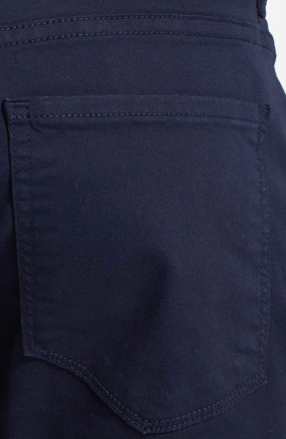 PAIGE, Normandie Slim Straight Leg Twill Pants, Alternate thumbnail 6, color, NAVY CADET