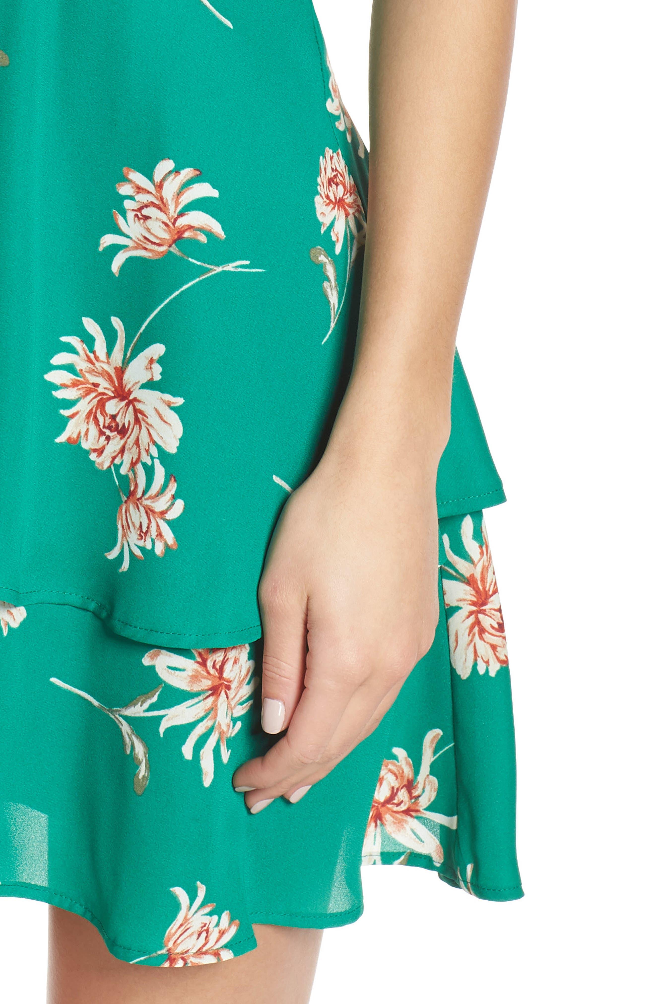 BB DAKOTA, Garden Strolls Blossom Party Minidress, Alternate thumbnail 5, color, PEPPER GREEN