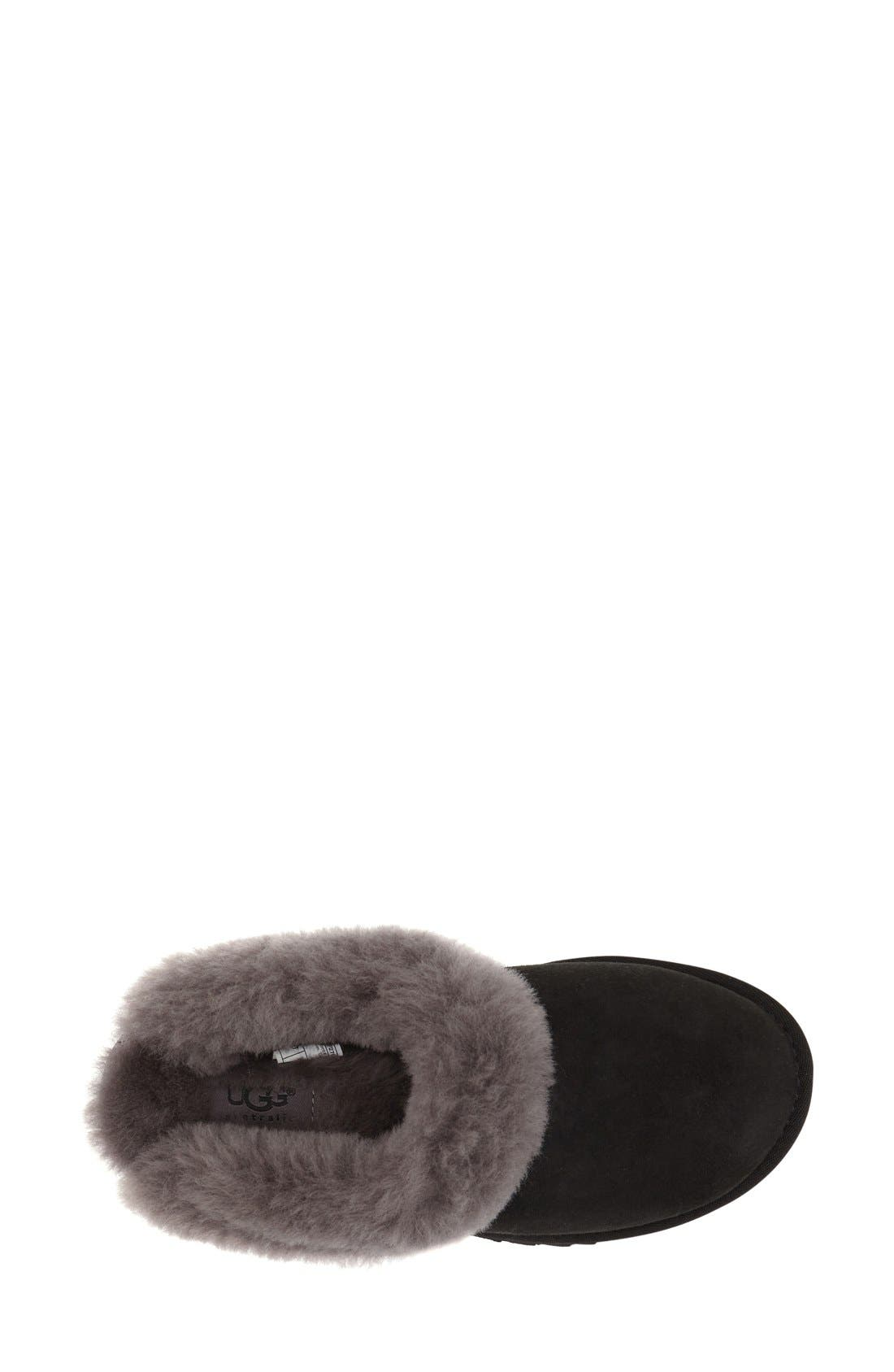 UGG<SUP>®</SUP>, 'Cluggette' Genuine Shearling Indoor/Outdoor Slipper, Alternate thumbnail 3, color, 001