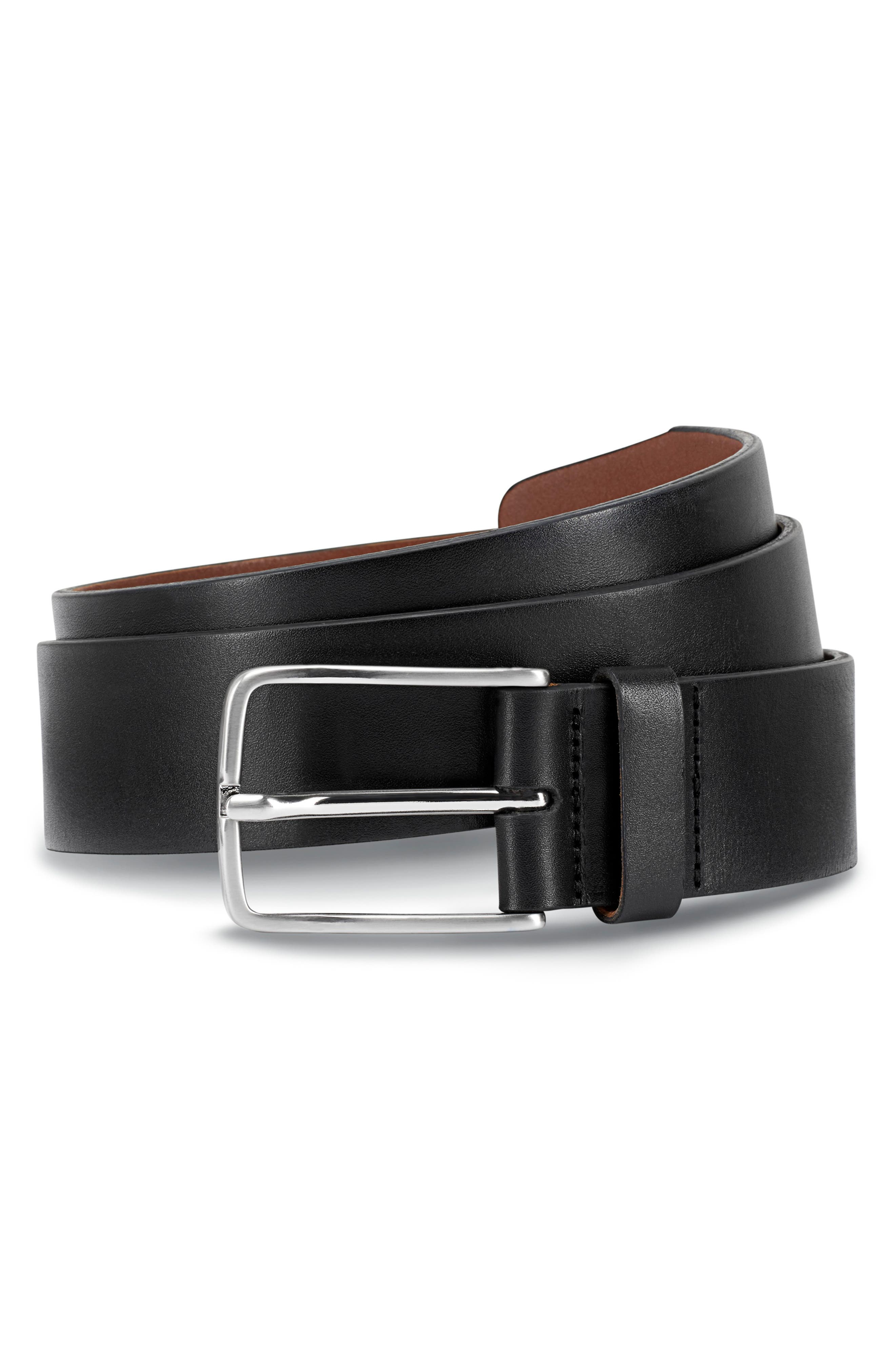 ALLEN EDMONDS, Broadway Avenue Leather Belt, Main thumbnail 1, color, BLACK CALFSKIN